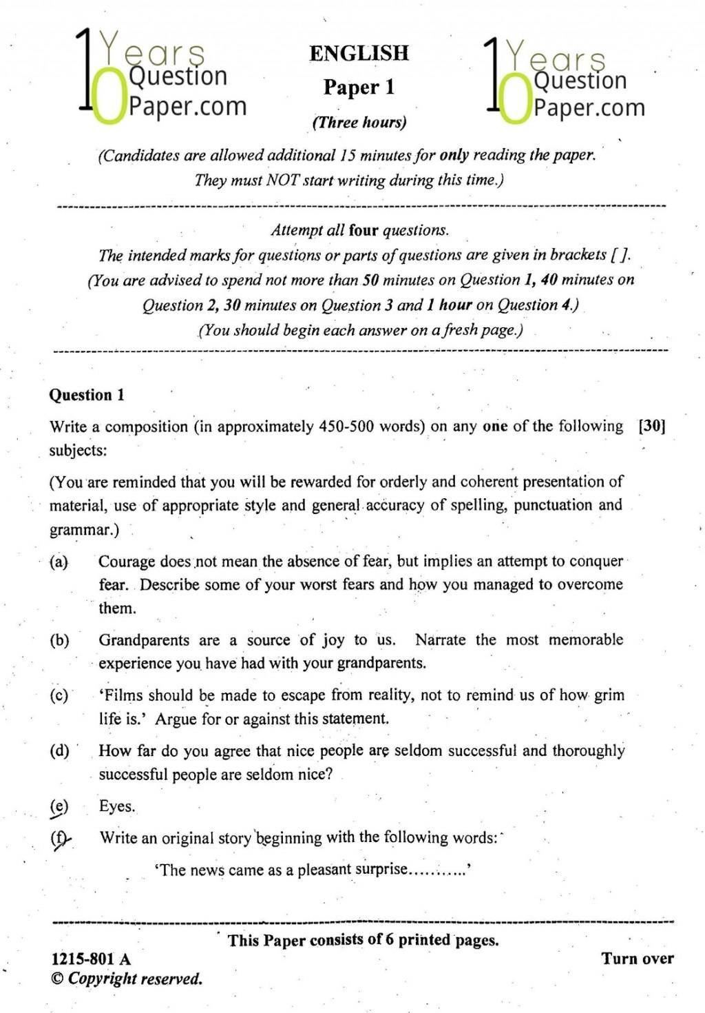008 Essay Example English Topics Isc Paper Class Dreaded Literature Question For 10 Icse 2015 Maharashtra Board Large