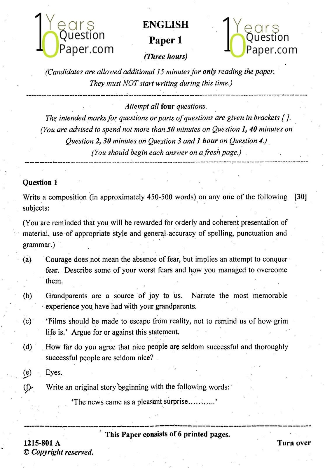 008 Essay Example English Topics Isc Paper Class Dreaded Literature Question For 10 Icse 2015 Maharashtra Board Full