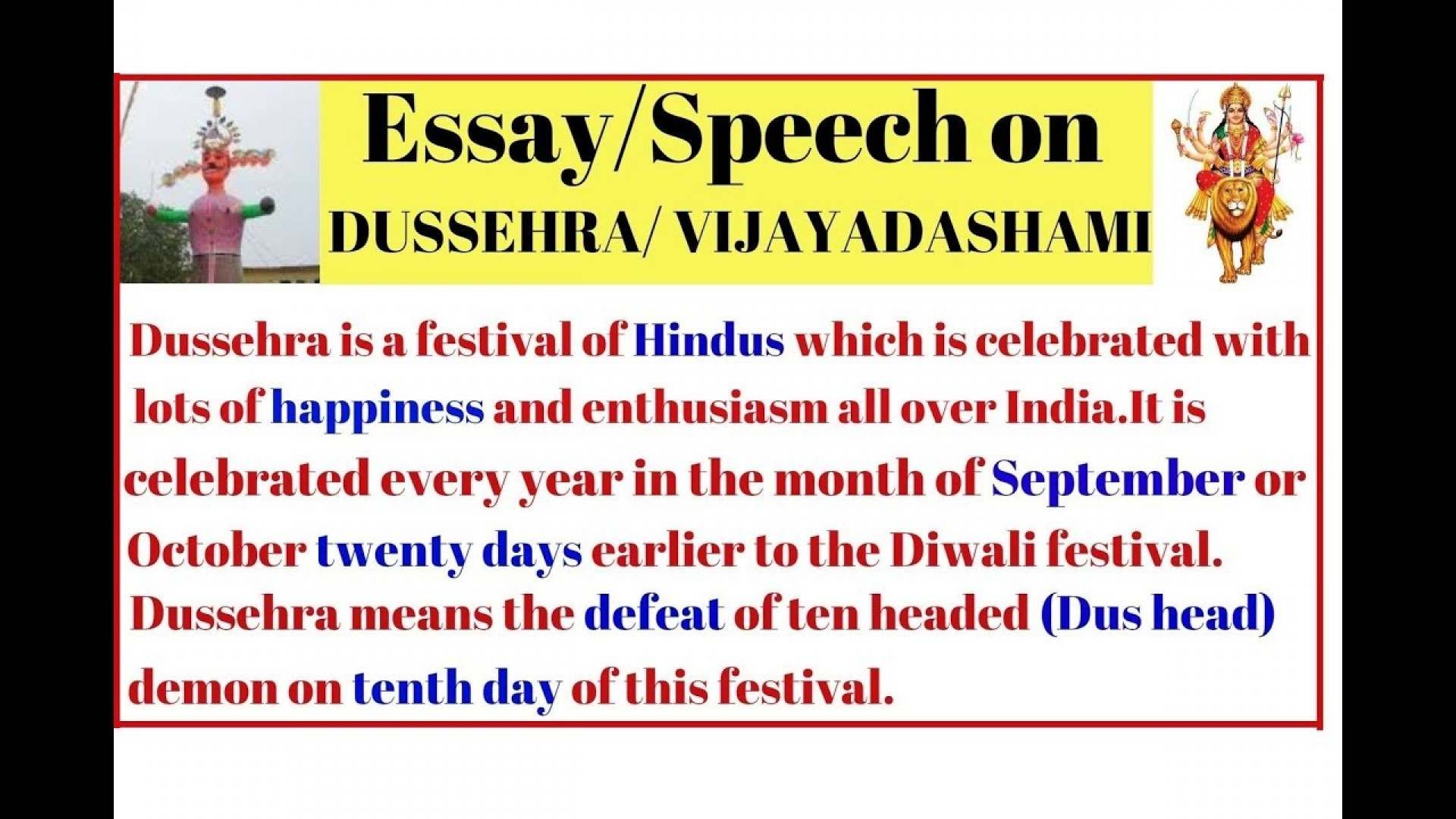 008 Essay Example Maxresdefault On Dussehra Festival In Surprising English 1920