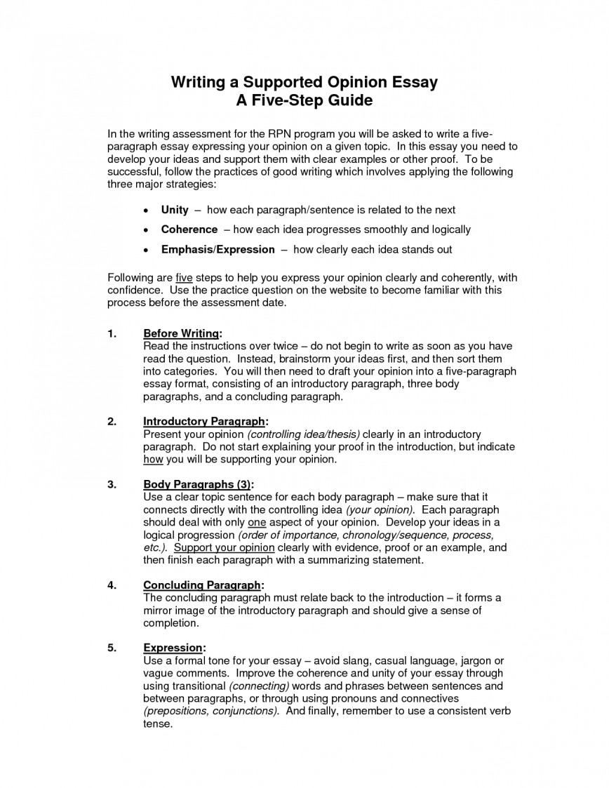 008 Essay Example Nduaaftac8 How To Write An Unbelievable Opinion 3rd Grade College 868