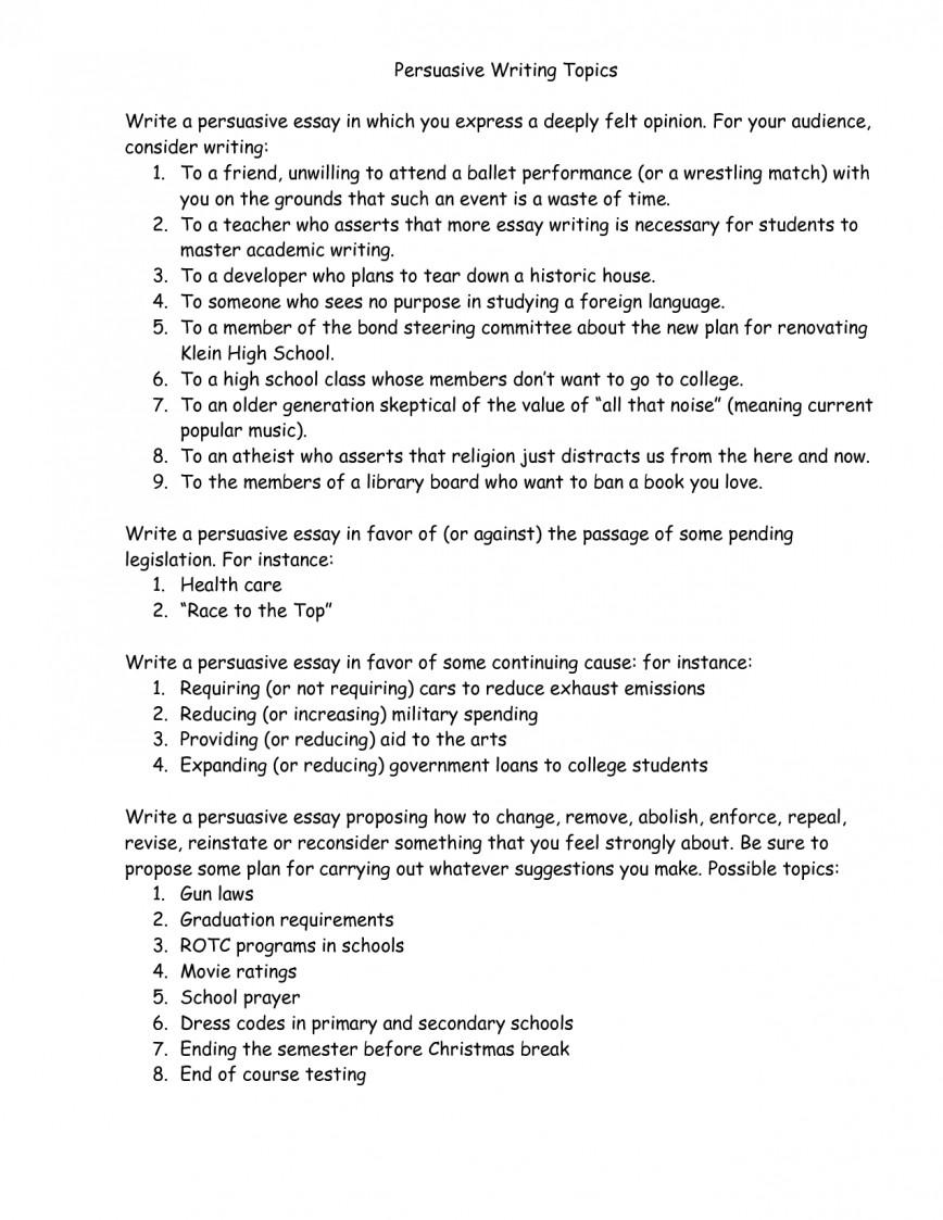 008 Essay Example Persuasive Essays Topics Phenomenal Interesting Uk Easy For College Students High School