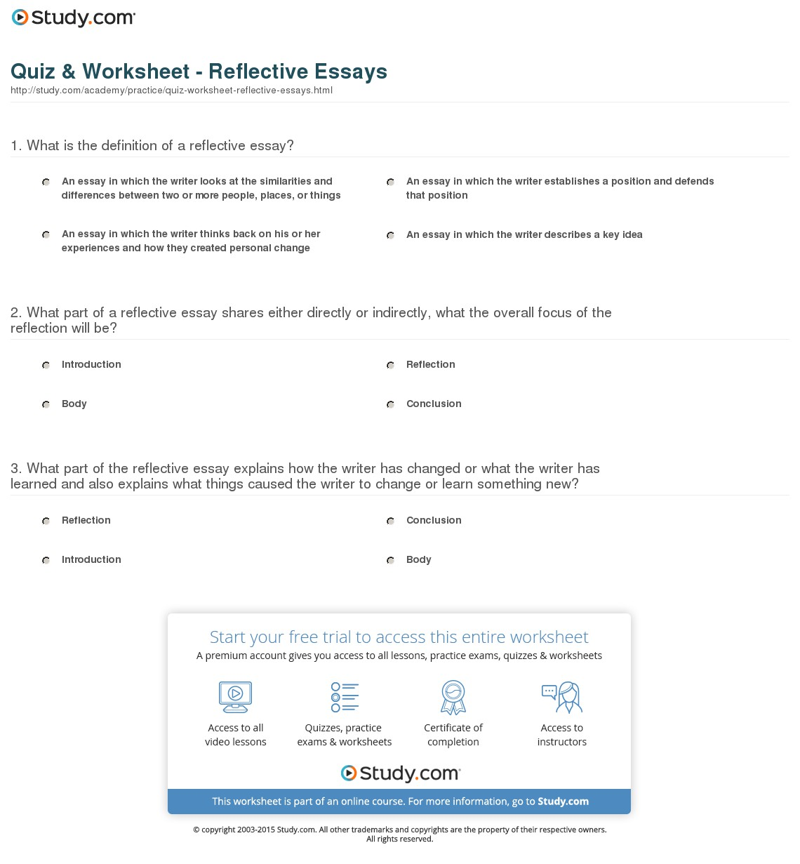 008 Essay Example Quiz Worksheet Reflective Magnificent Essays On English Class Examples Nursing About Life Full