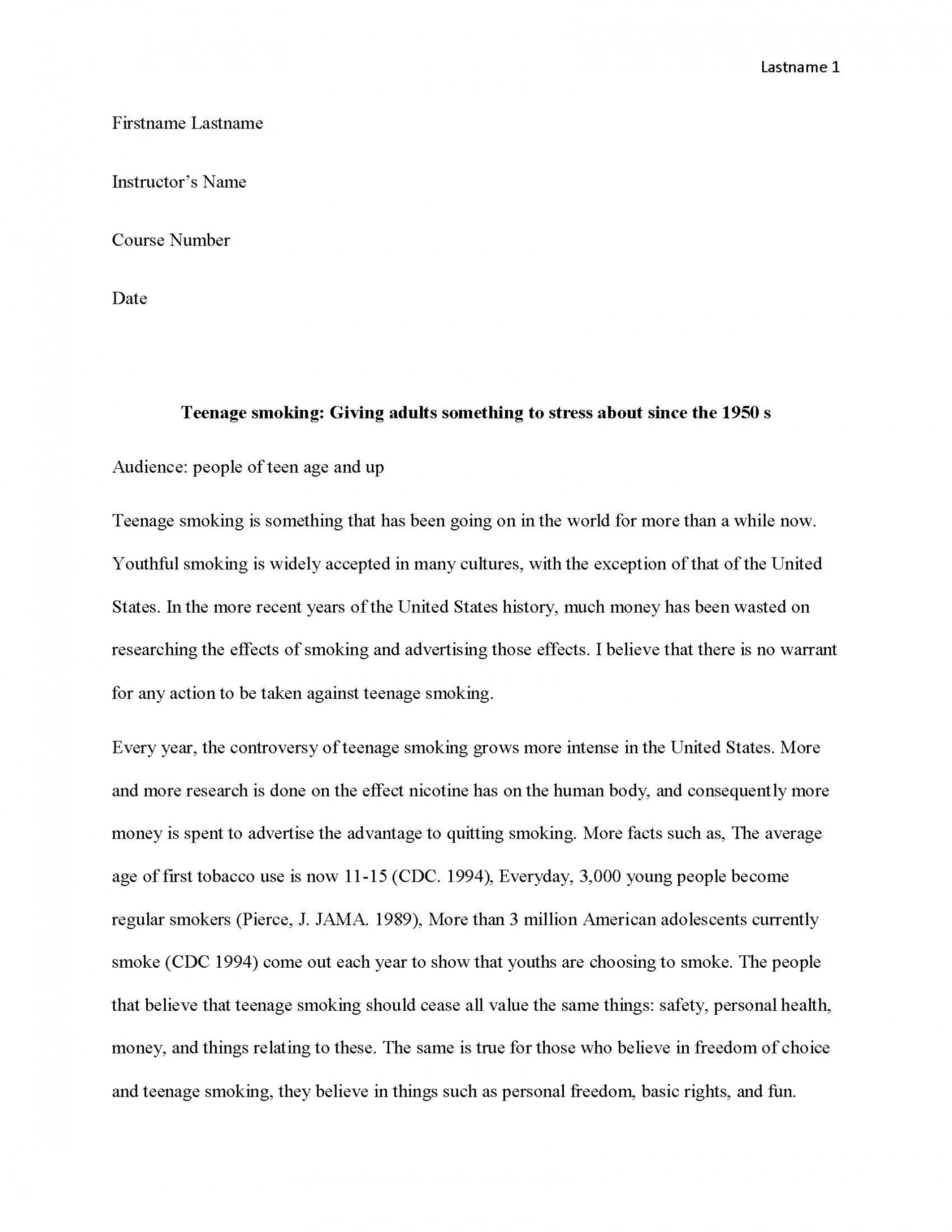 008 Essay Example Teen Smoking Free Sample Page 1 Imposing Editorial Examples For High School Paper About Travel 1920