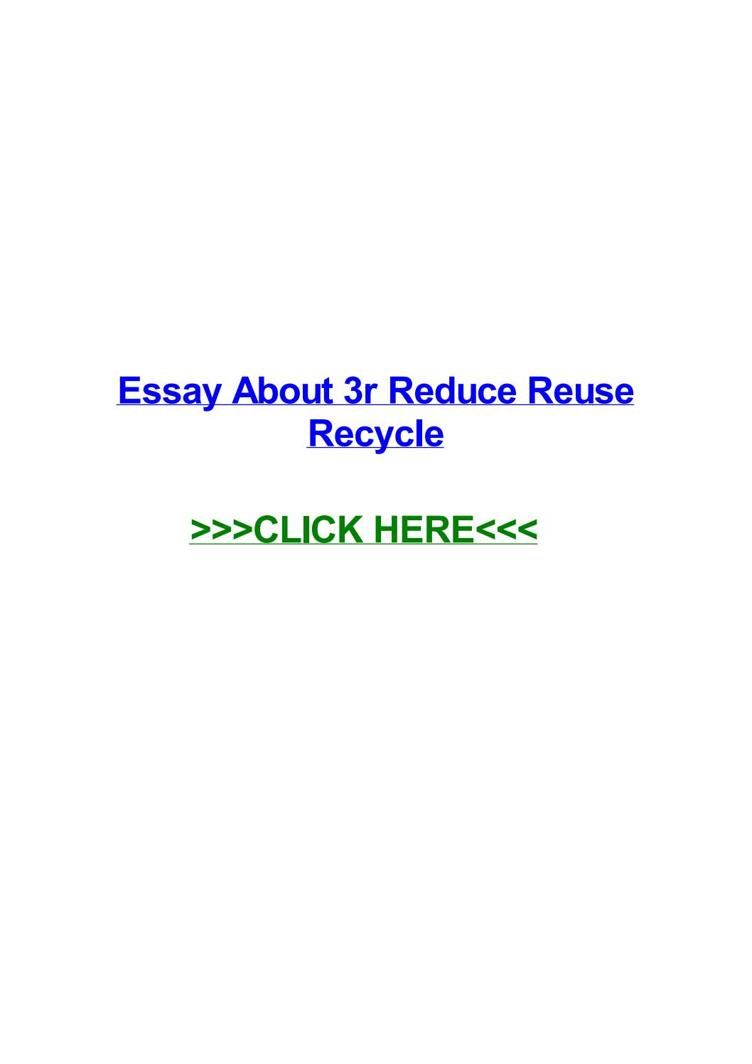 008 Essay On Reduce Reuse Recycle Example Page 1 Stirring Short In Hindi English Full
