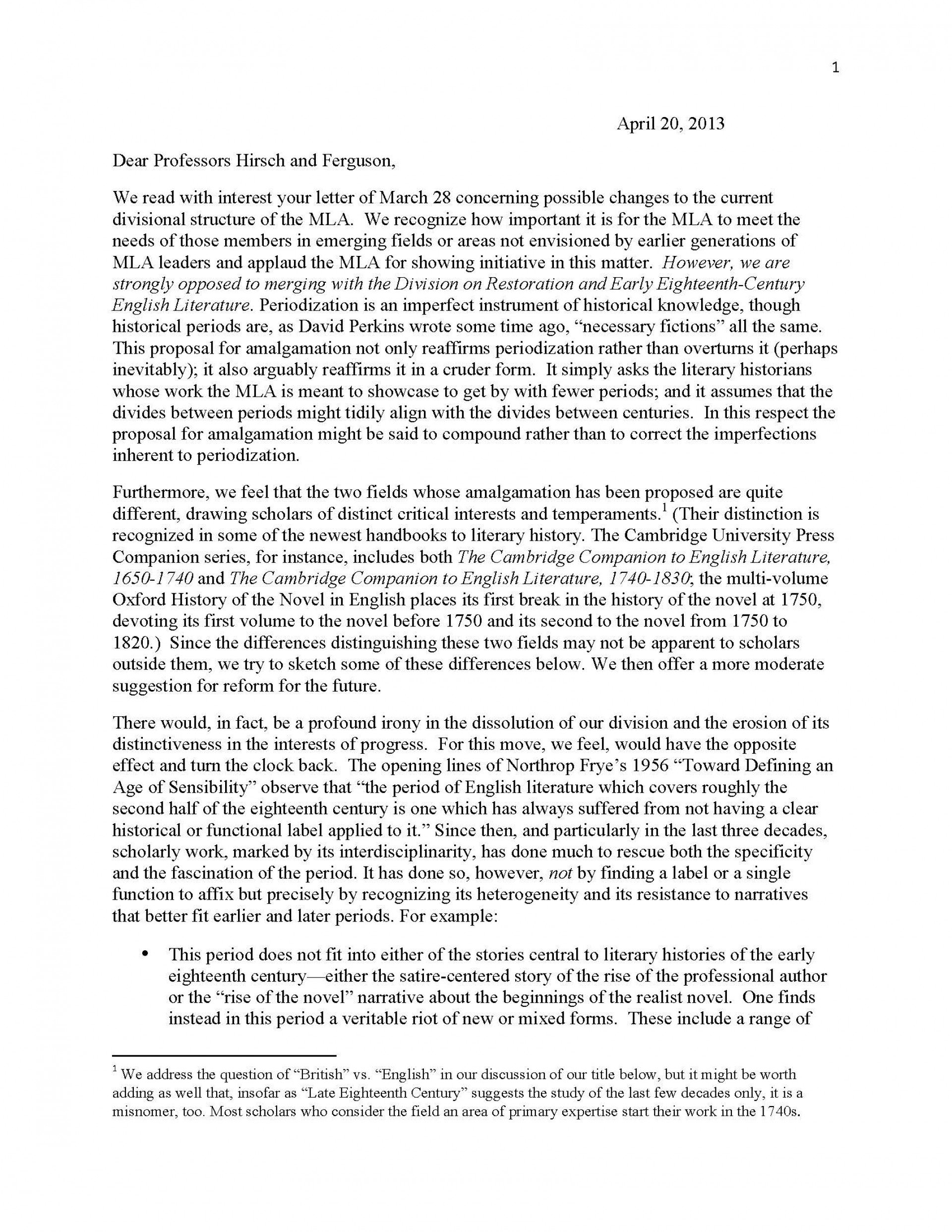 008 Essay Proposal Response To Marianne Hirsch Margaret Ferguson Rev Final Copy Page 1 Top Samples Mla Format Satirical Ideas 1920