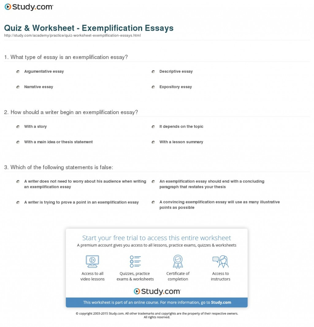 008 Exemplification Essay Example Quiz Worksheet Striking About Technology Outline Examples Free Large