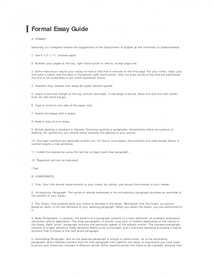 008 Formal Essay Format 326908 Fearsome College Sample Apa