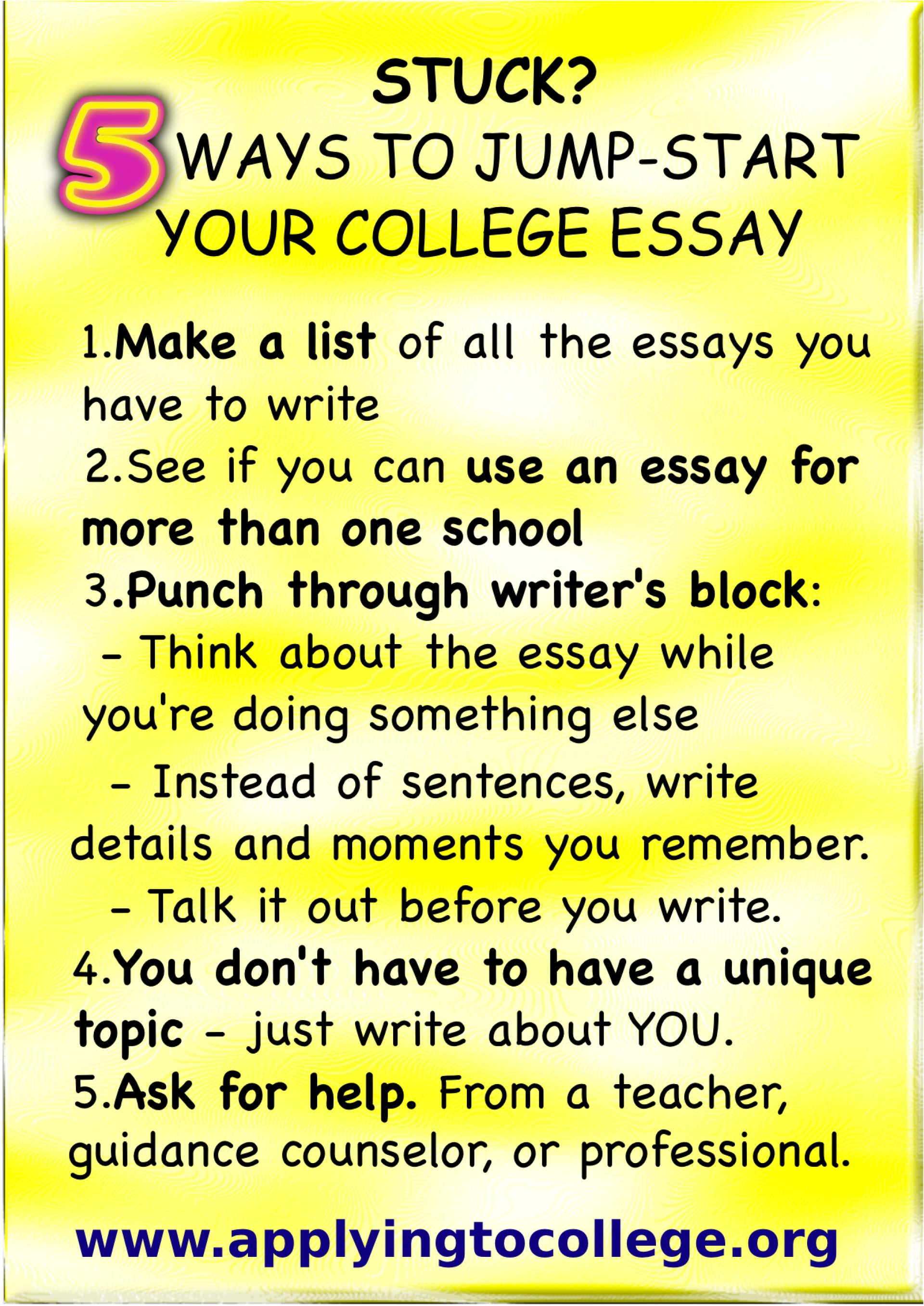 008 Good Way To Start An Essay Stuck Tips Jump Your College Applying Ways Essays L Striking About A Book Racism Different 1920