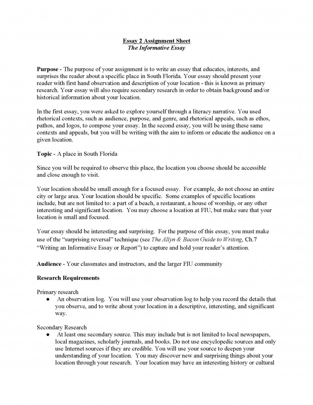 008 Informative Essay Unit Assignment Page 1 Example Informational Unbelievable Topics For 5th Grade Expository 4th Large