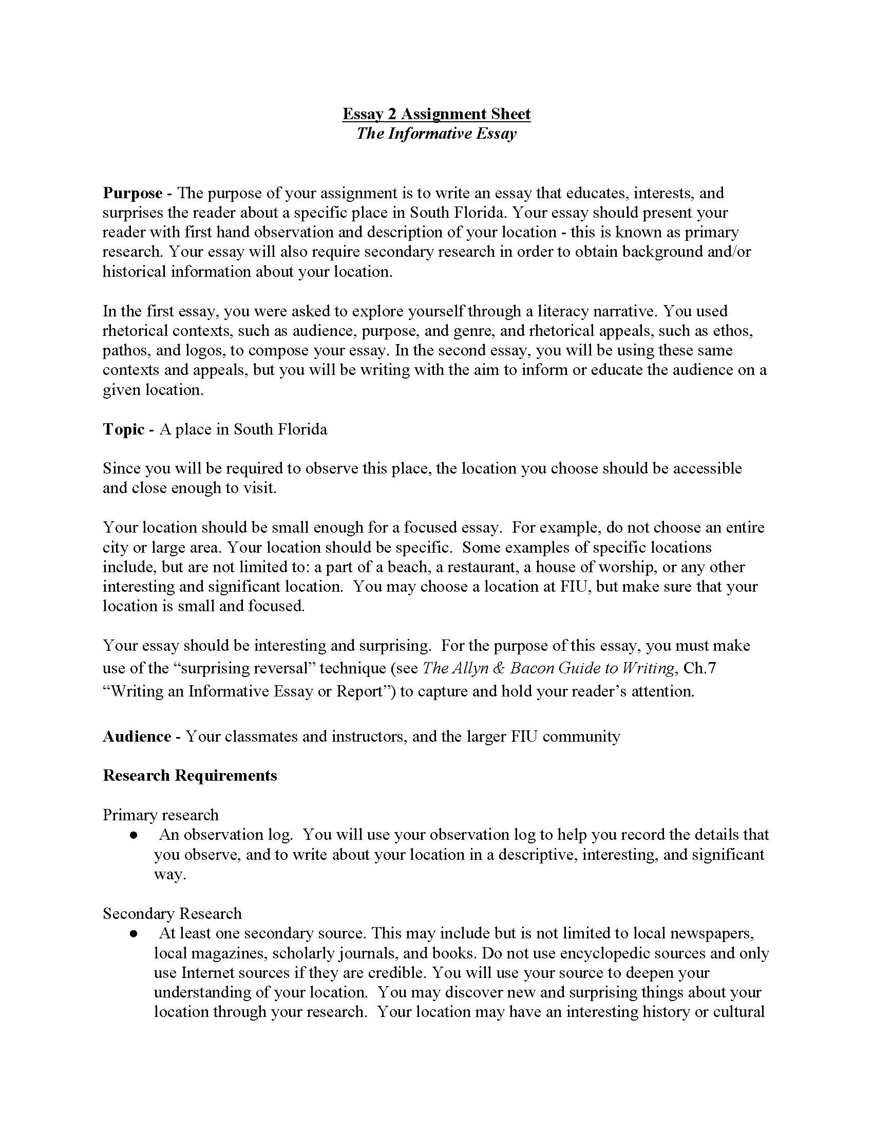 008 Informative Essay Unit Assignment Page 1 Example Informational Unbelievable Topics For 5th Grade Expository 4th Full