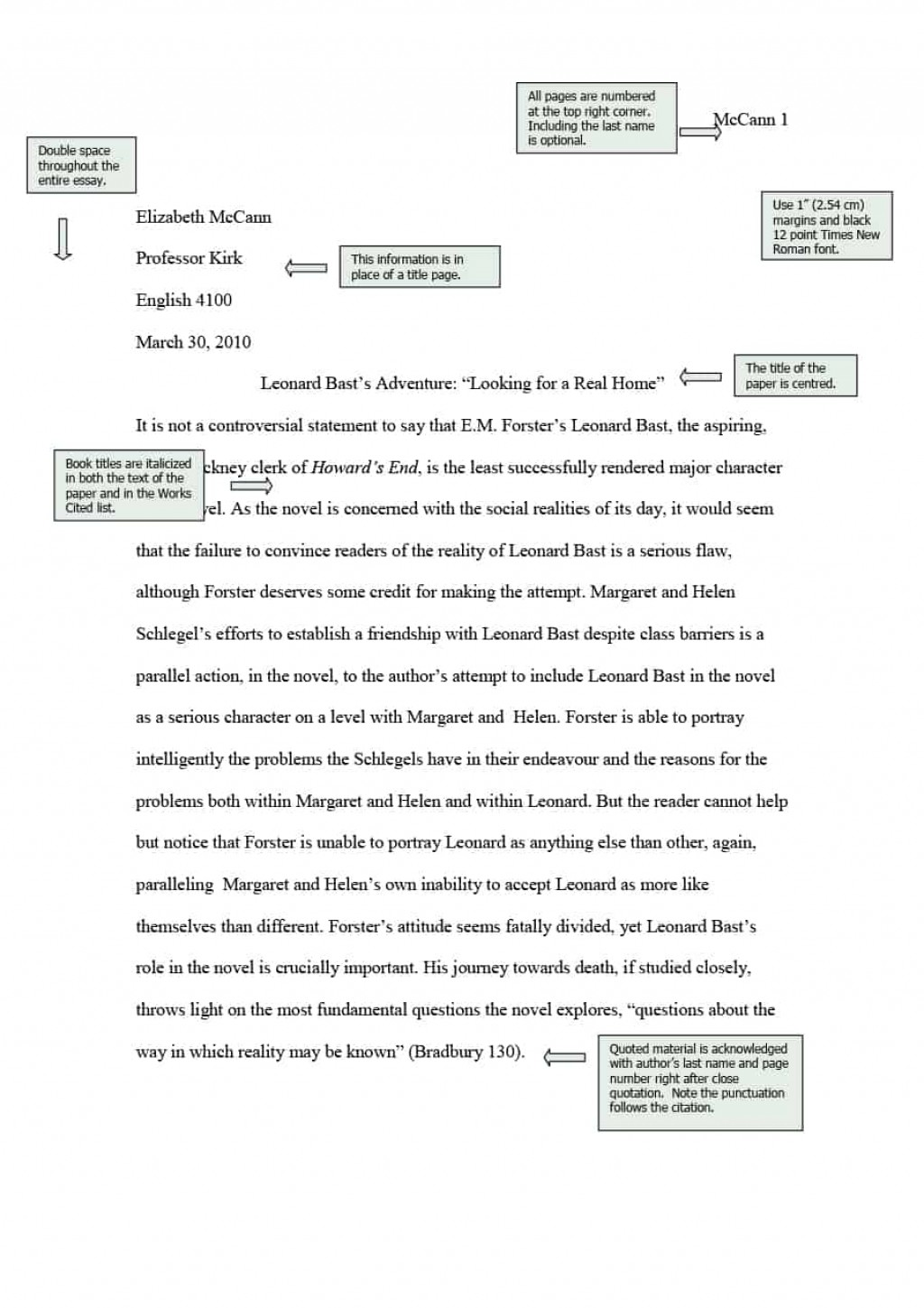 008 Mla Essay Example Format Template Magnificent 2018 Style Title Page Large