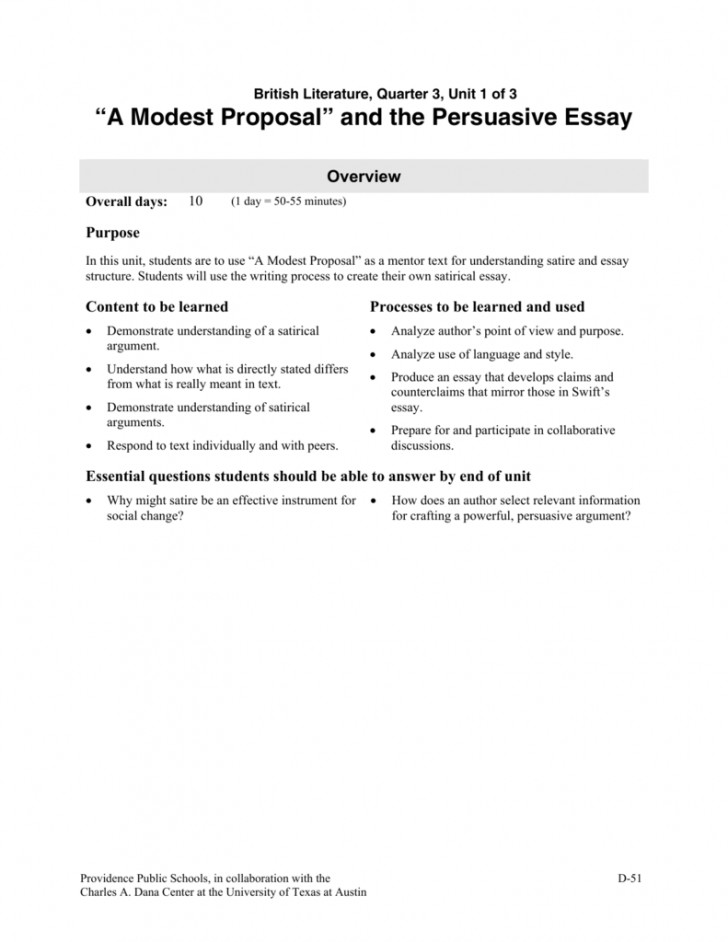 essay example   modest  thatsnotus   modest proposal essay example   exceptional prompts  meaning