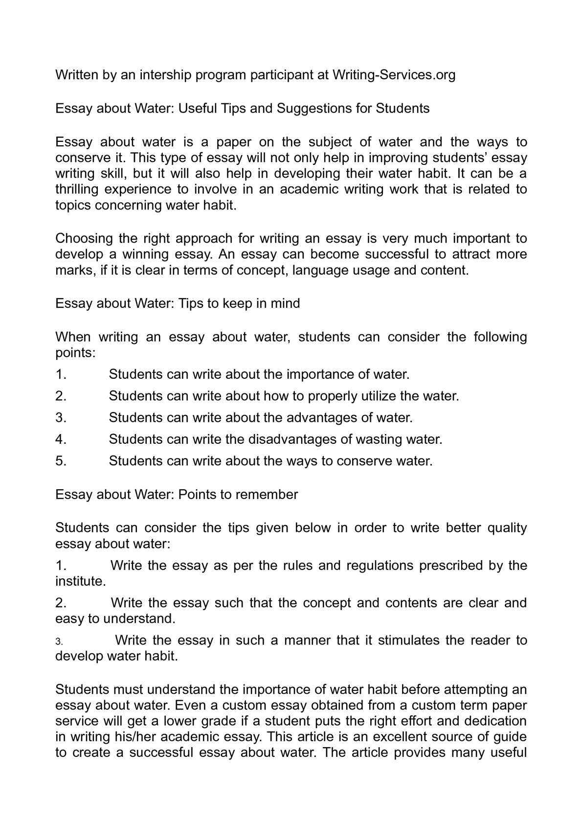 Essay water conservation