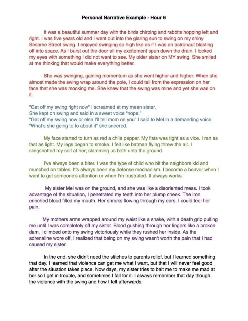 paragraph essay example high school personal narrative