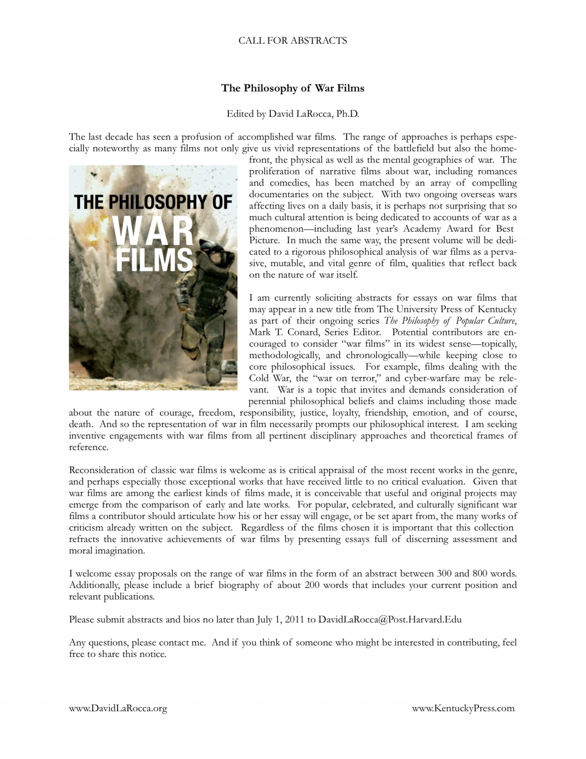 008 Philosophy Of War Films Cfp Larocca Essay Collection Shocking Collections For Students 2017 Best Pdf 1920