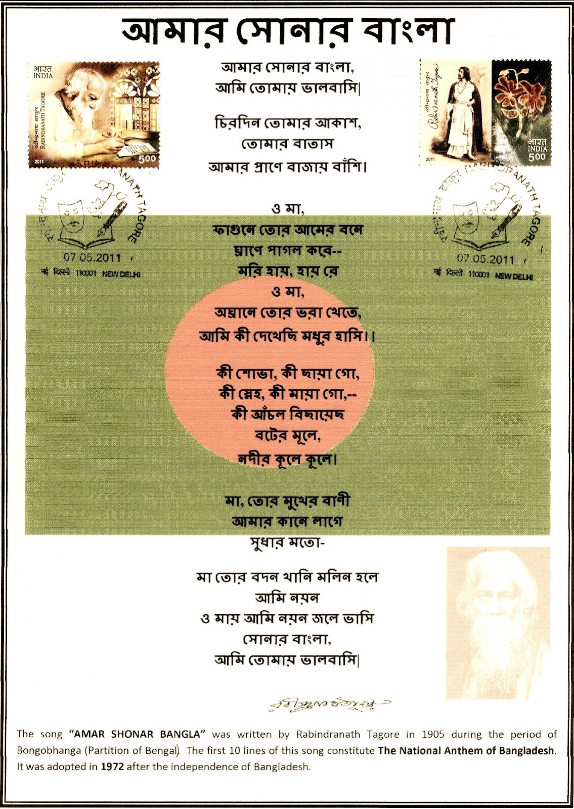 008 Rabindra Nath Tagore Amar Shonar Bangla Essay On Bhagat Singh In Marathi Unique Short 100 Words 1920