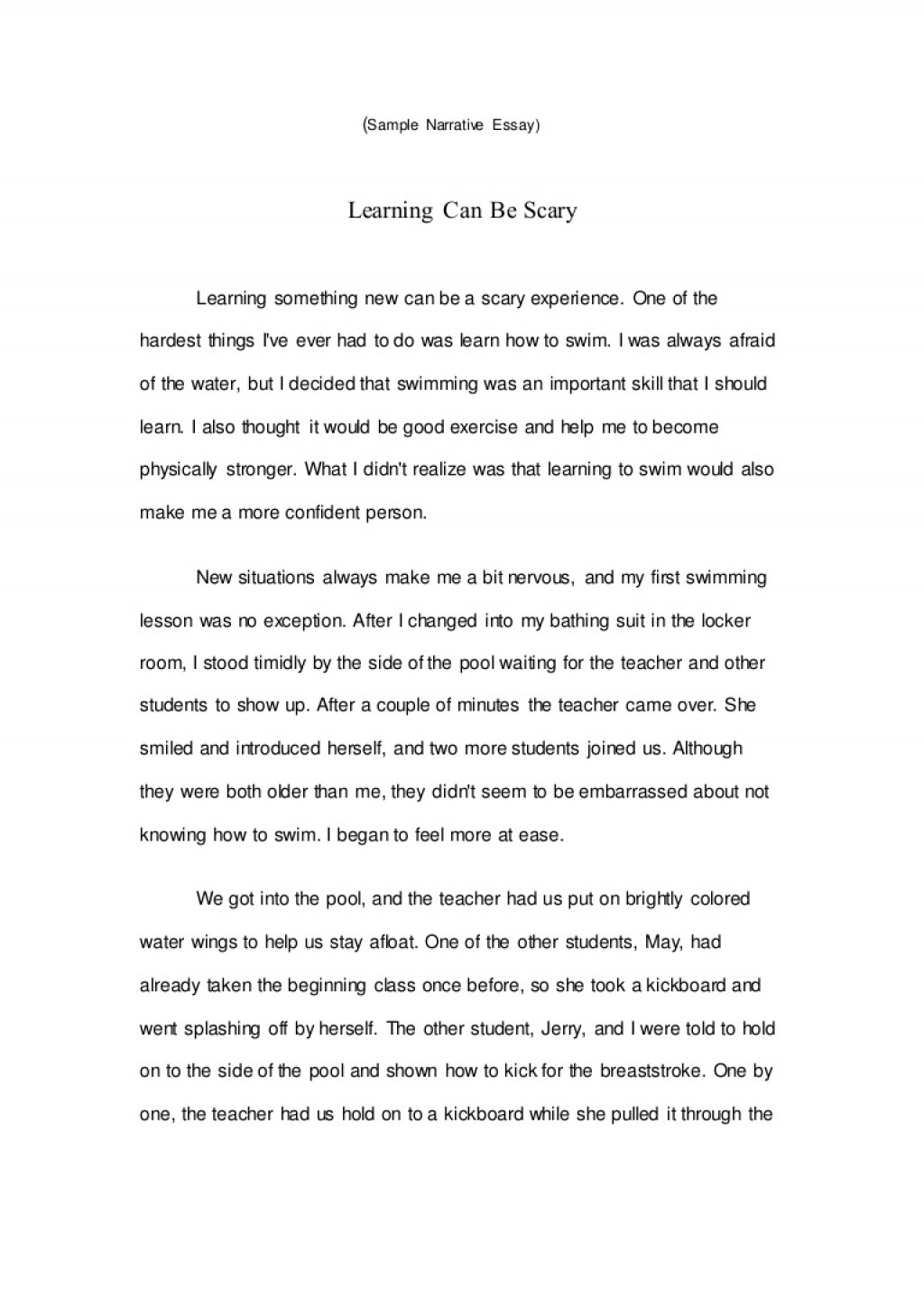 008 Sample Narrative Essay Samplenarrativeessay Lva1 App6891 Thumbnail Wondrous Personal Middle School Apa Format Large
