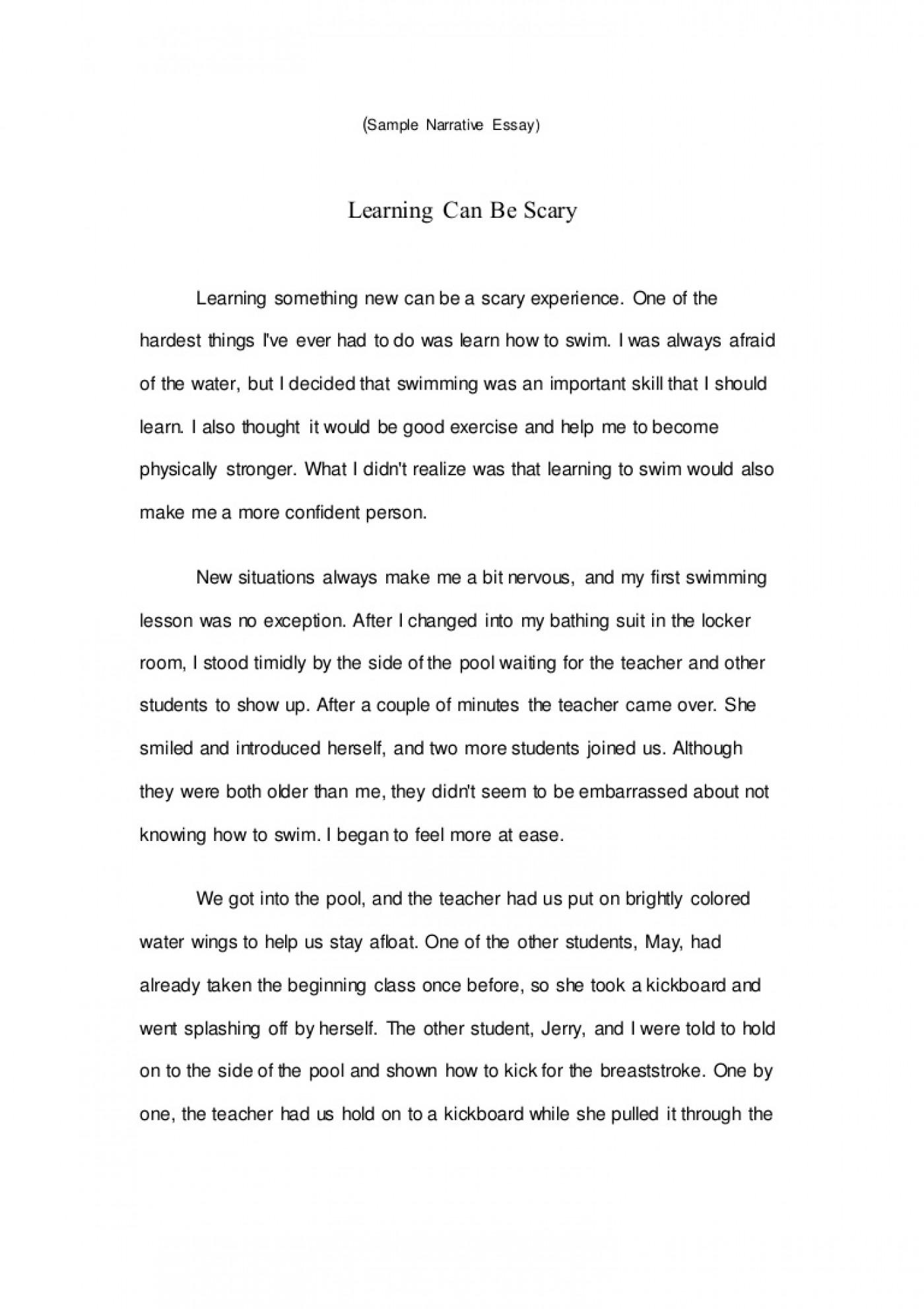 008 Sample Narrative Essay Samplenarrativeessay Lva1 App6891 Thumbnail Wondrous College High School Samples Of Essays Level 1400