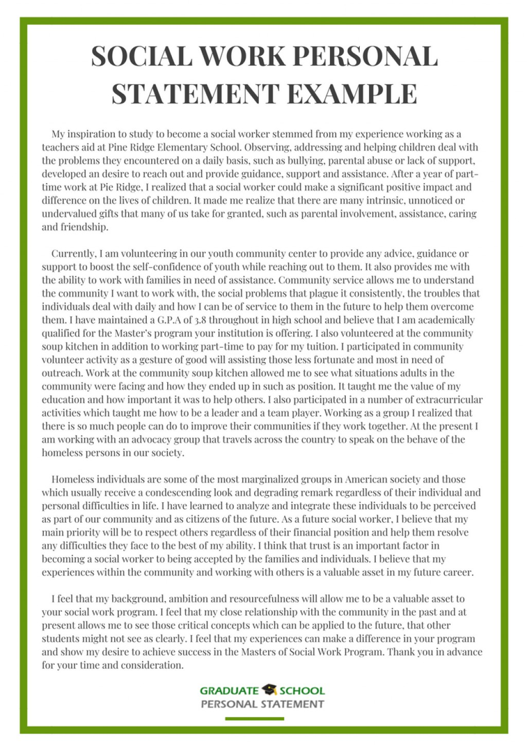 008 Social Work Personal Statement Essay Example From Graduate School Experts Grad Rare Large