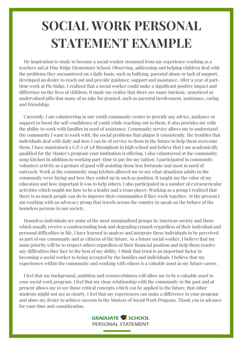 008 Social Work Personal Statement Essay Example From Graduate School Experts Grad Rare Full