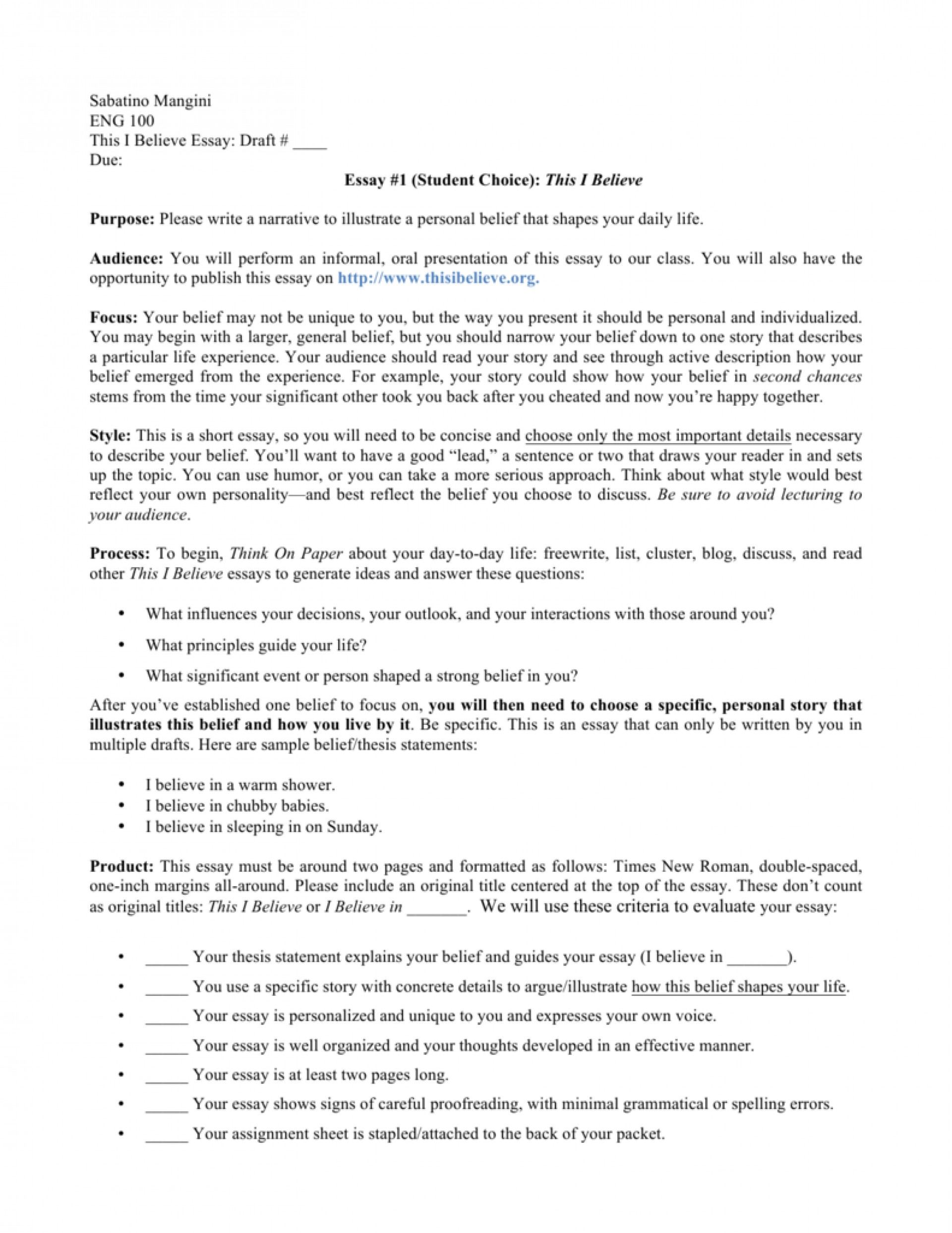 008 This I Believe Essays 008807227 1 Stupendous Essay Examples Personal College 1920