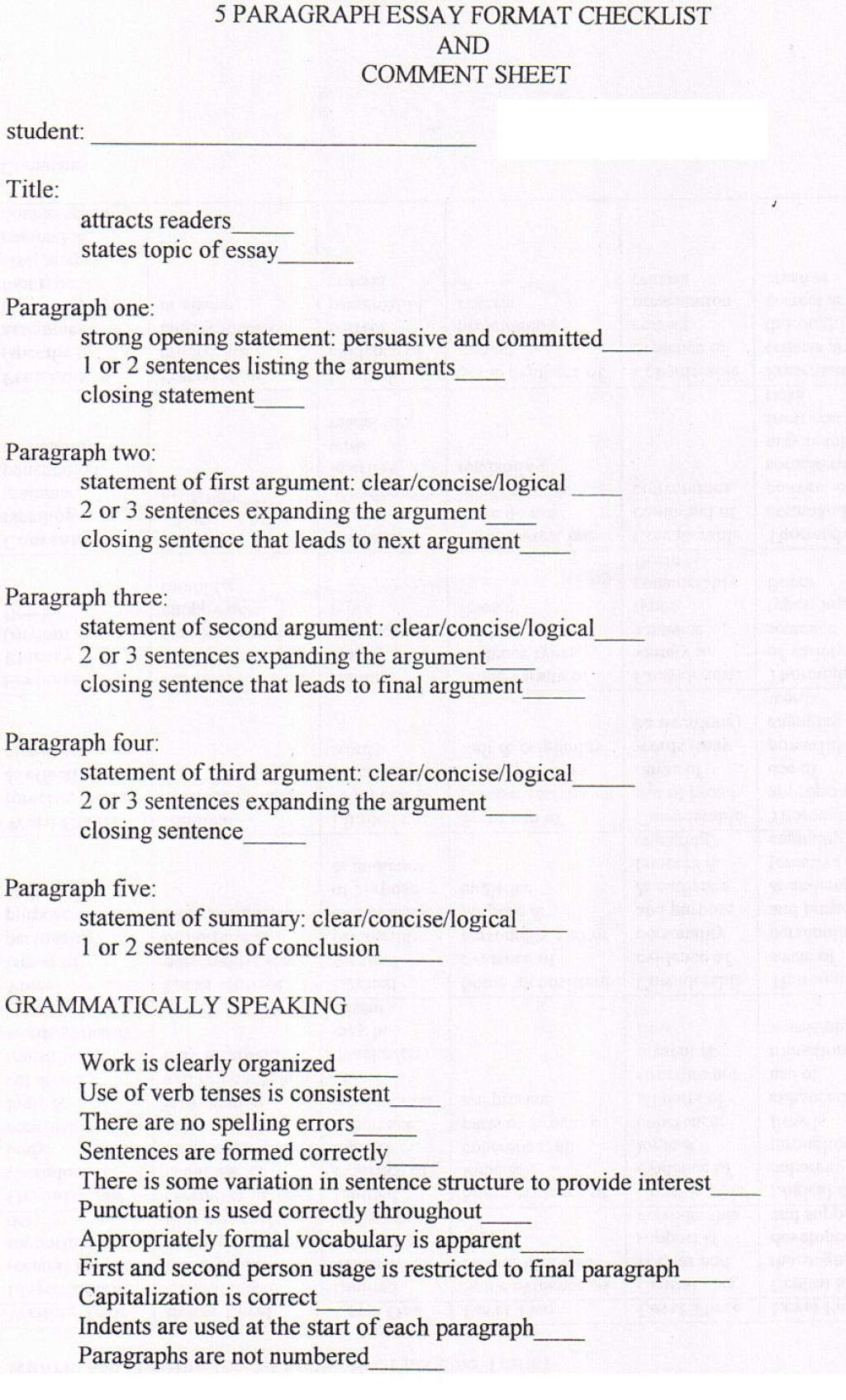 009 5paragraphchecklist Essay On Bullying Amazing The Cause And Effect In School Of Cyberbullying Large