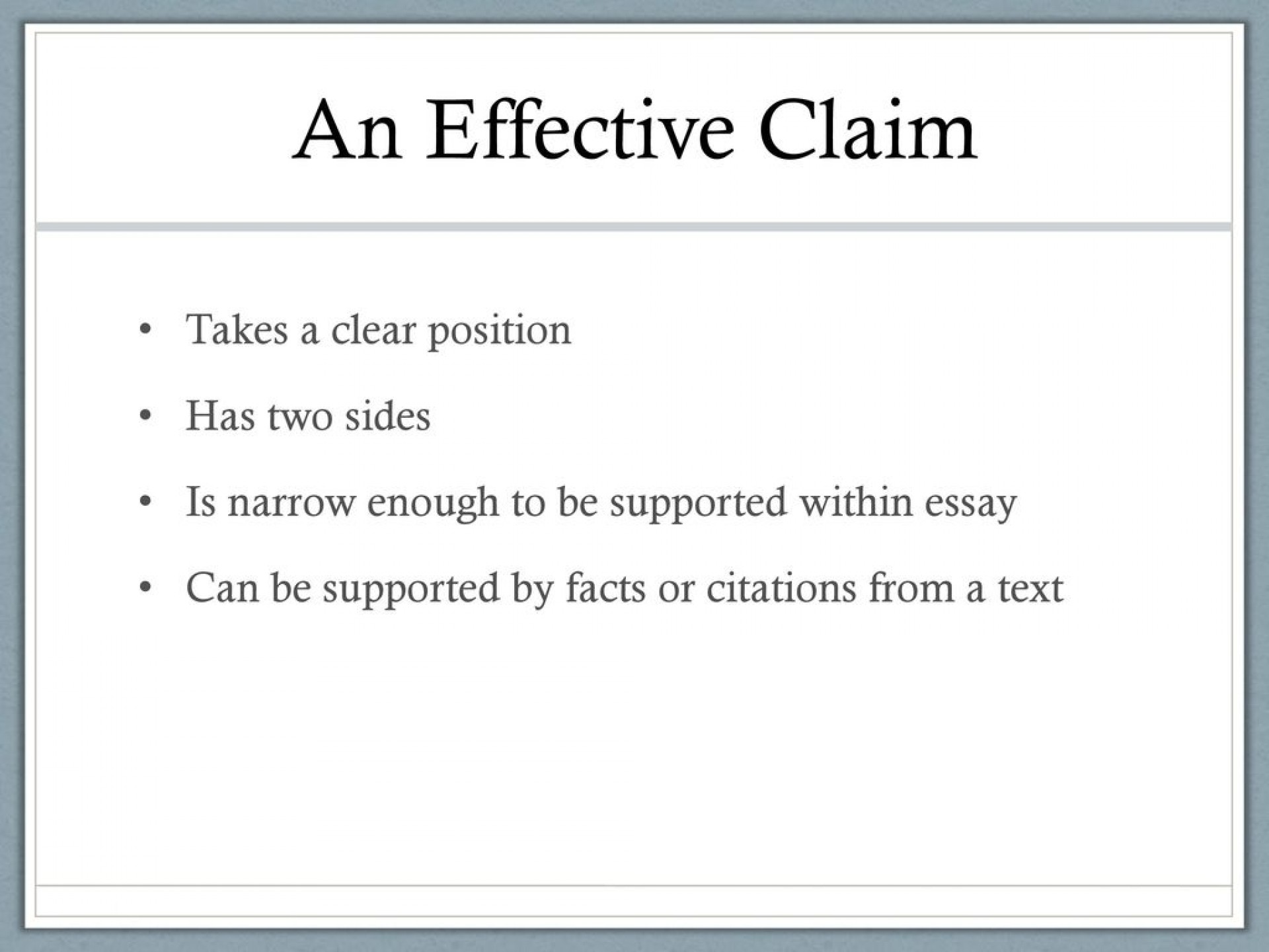 009 Aneffectiveclaimtakesaclearpositionhastwosides An Effective Claim For Argumentative Essay Is Wondrous Which Statement Example Of Brainly Quizlet 1920