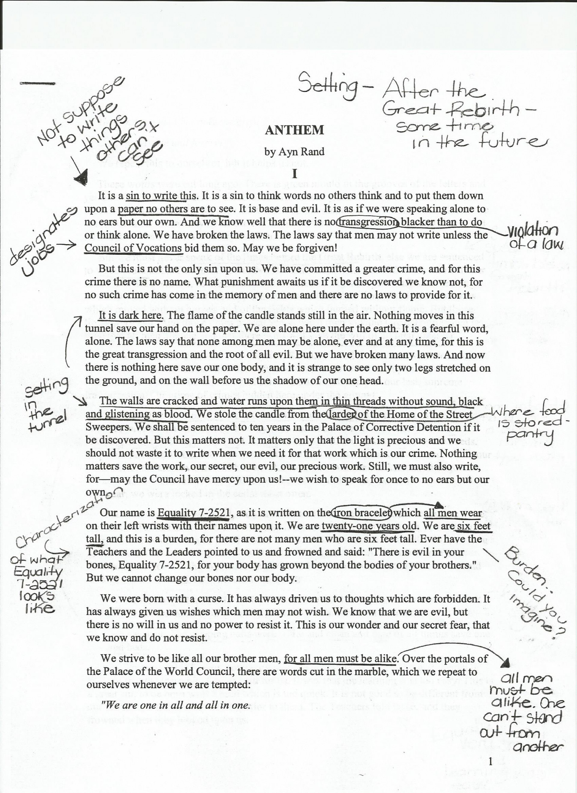 009 Anthem20annotations20example201 Essay Example How Tonotate Wondrous To Annotate An A Movie In Critical 1920