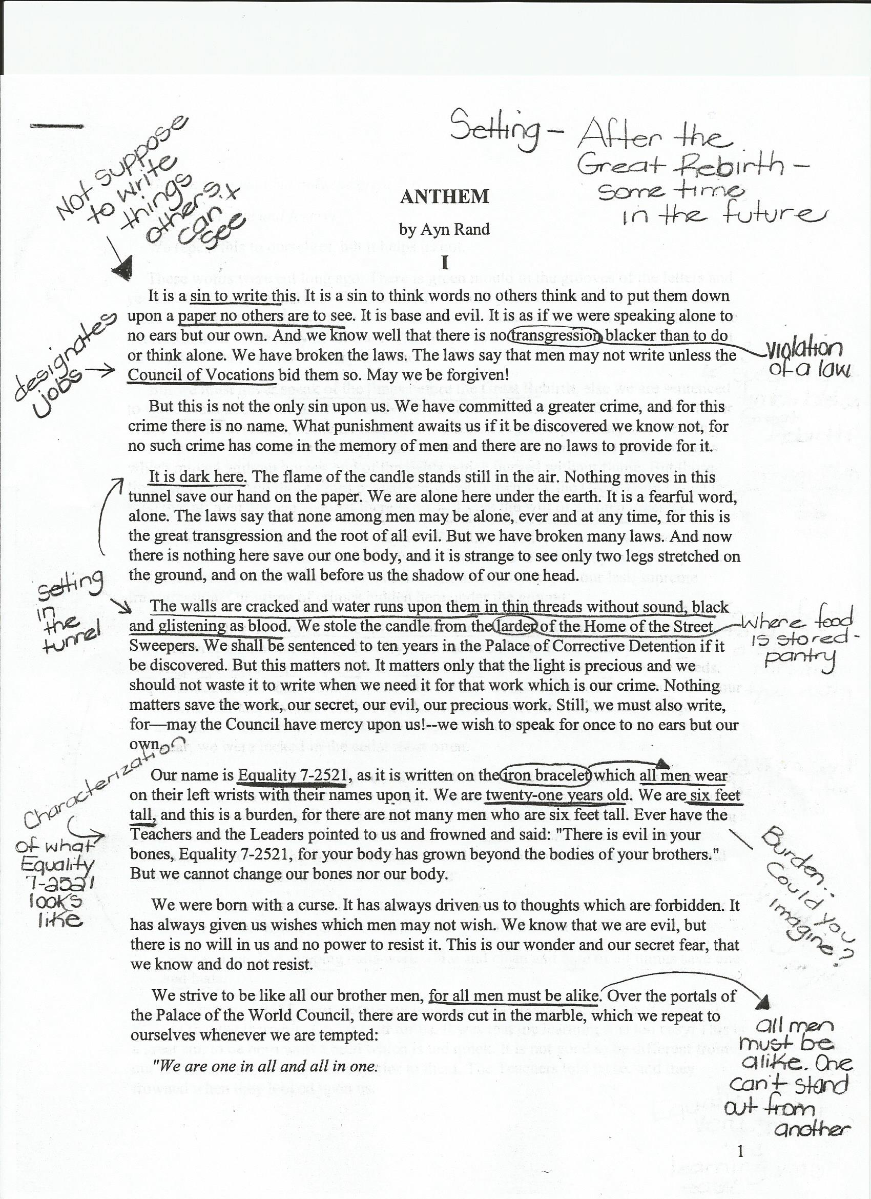 009 Anthem20annotations20example201 Essay Example How Tonotate Wondrous To Annotate An A Movie In Critical Full