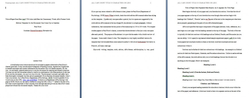 009 Apa Format Essay Template Example Paper Stupendous Short Sample Title Page 6th Edition 868
