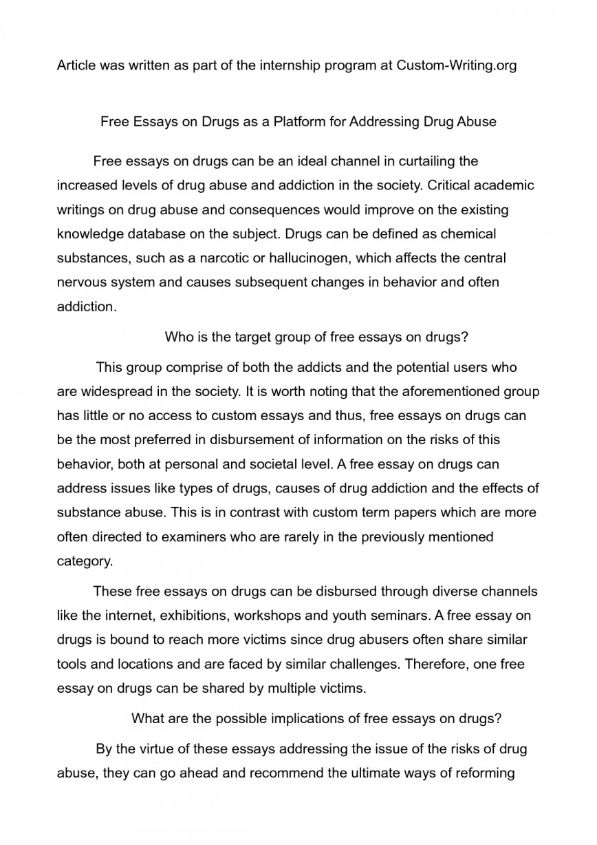 009 Argumentative Essay About Drugs Amazing Template Sample 6th Grade Conclusion 868