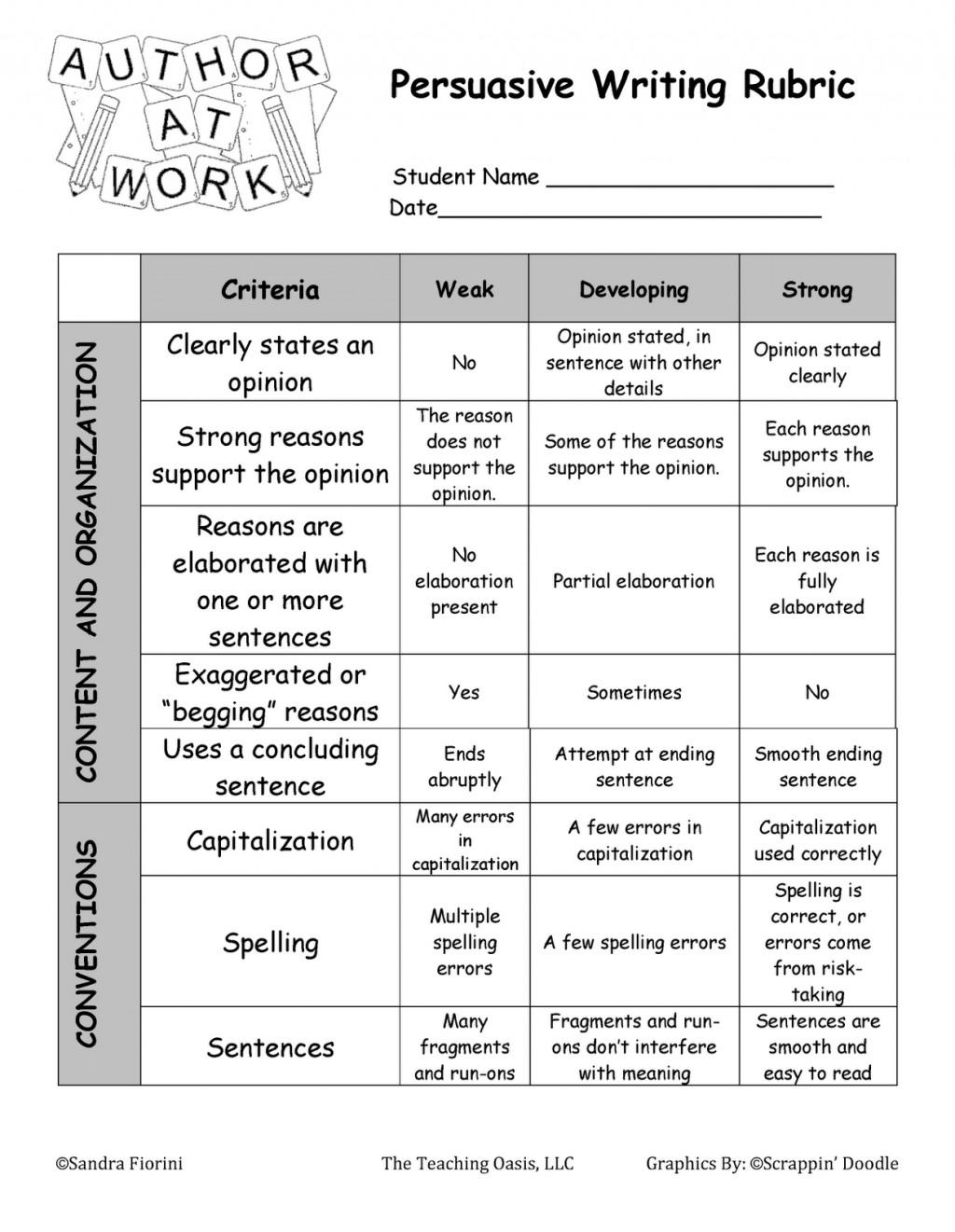 009 Argumentative Essay Rubric Example Persuasive Writing Unit Fiorini Oasis Page 22 Surprising Grade 7 10th Large