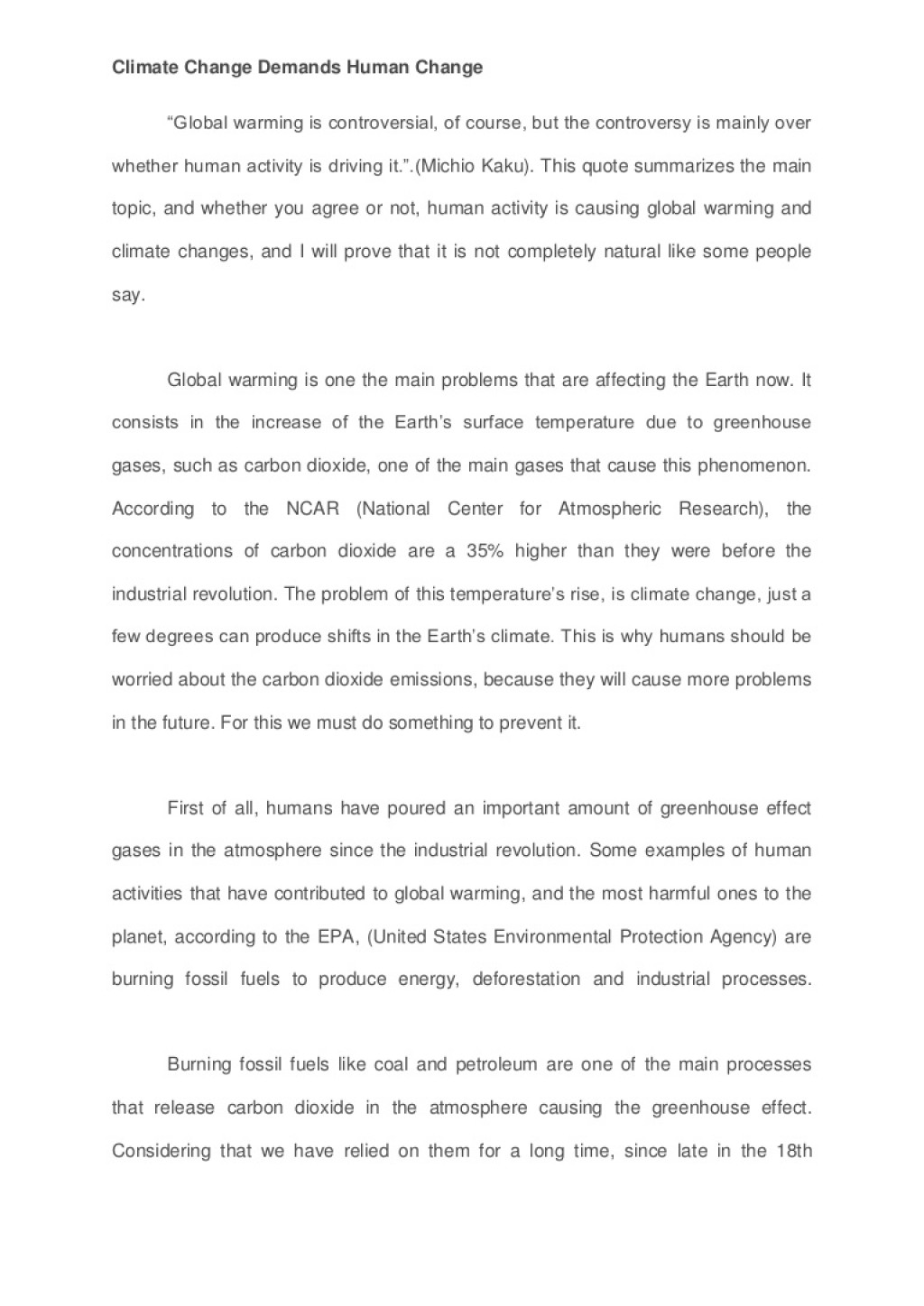 009 Change Essay Example Is Global Climate Man Made Study Percent Agreement Oyarce Esuessayclimatechangedemandshumanchange Lva1 App6892 Thumbn Persuasive Awesome Topics The World Contest Titles Large