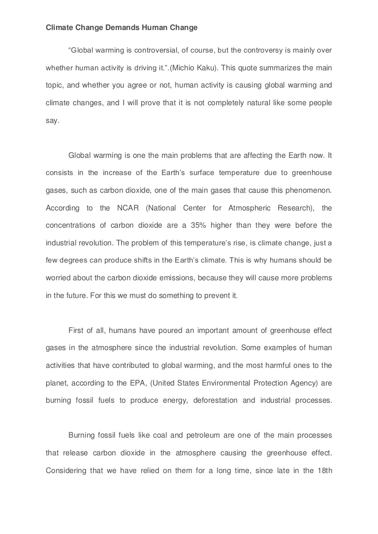009 Change Essay Example Is Global Climate Man Made Study Percent Agreement Oyarce Esuessayclimatechangedemandshumanchange Lva1 App6892 Thumbn Persuasive Awesome Topics The World Contest Titles Full