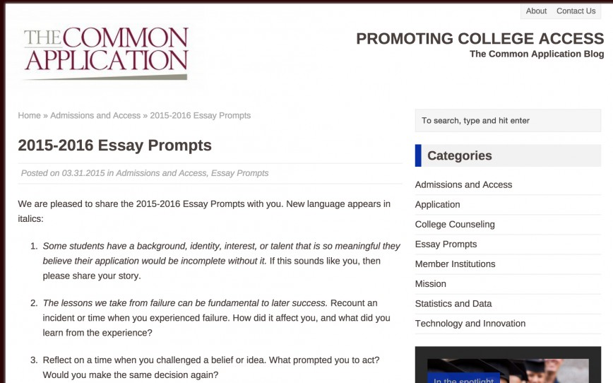 009 Common App Essays Prompts And Commentary All College Admission Essay Topics Screen Shot Format Applications Uchicago Fantastic 2018-19 2016 2014
