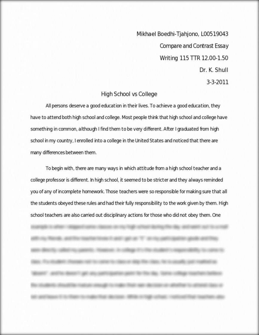 009 Compare Essay Contrast High School Vs College Practice Makes Coursework Academic And Comparison Life Beautiful Ideas Outline Examples Middle