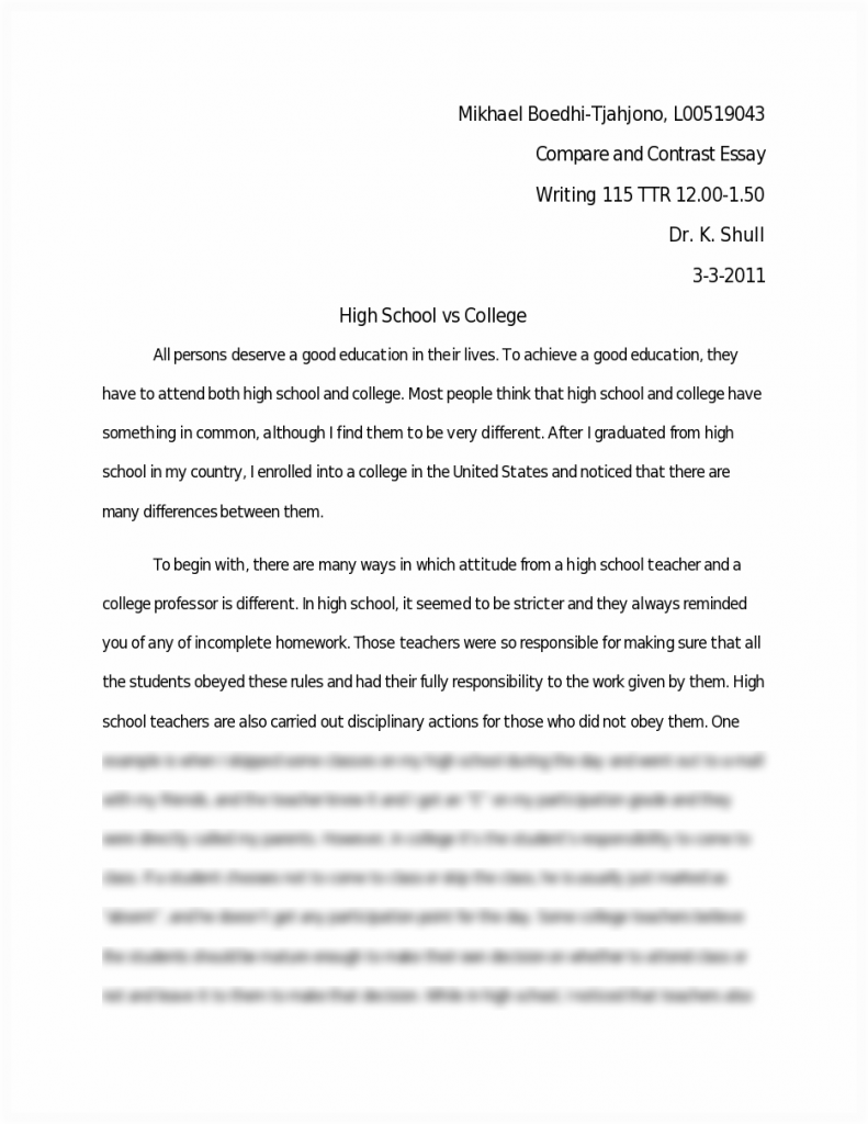high school vs college essay compare and contrast pdf