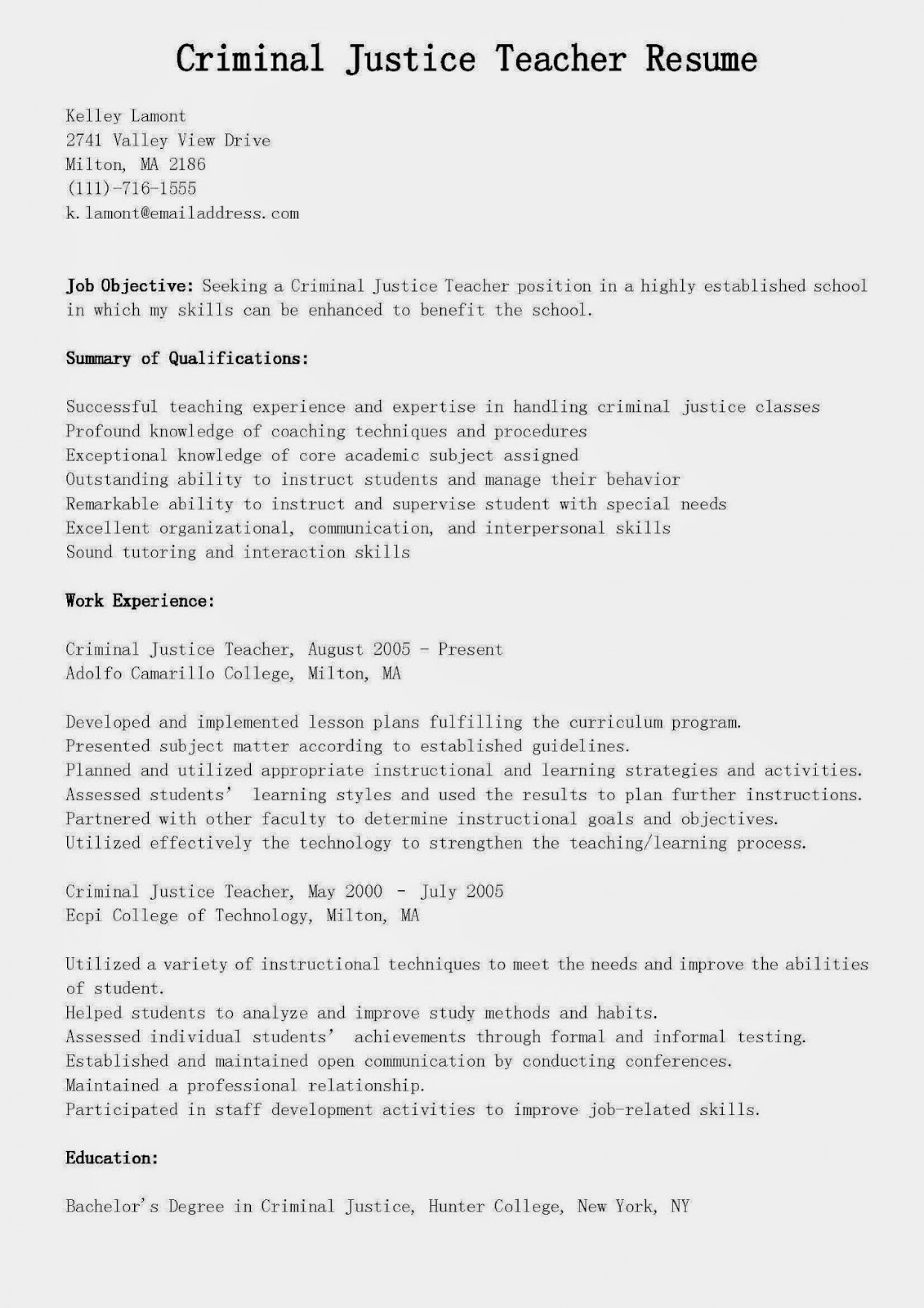009 Criminaljusticeteacherresume Essay Example Fascinating Justice To Kill A Mockingbird And Injustice Criminal Scholarship Examples Introduction 1920