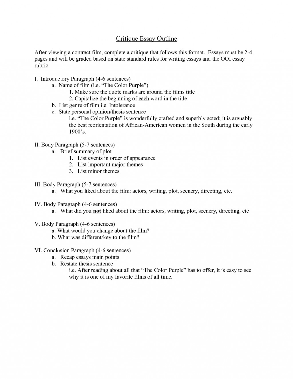 009 Critique Essay Outline Format 130080 Painting Fascinating Example Description Large