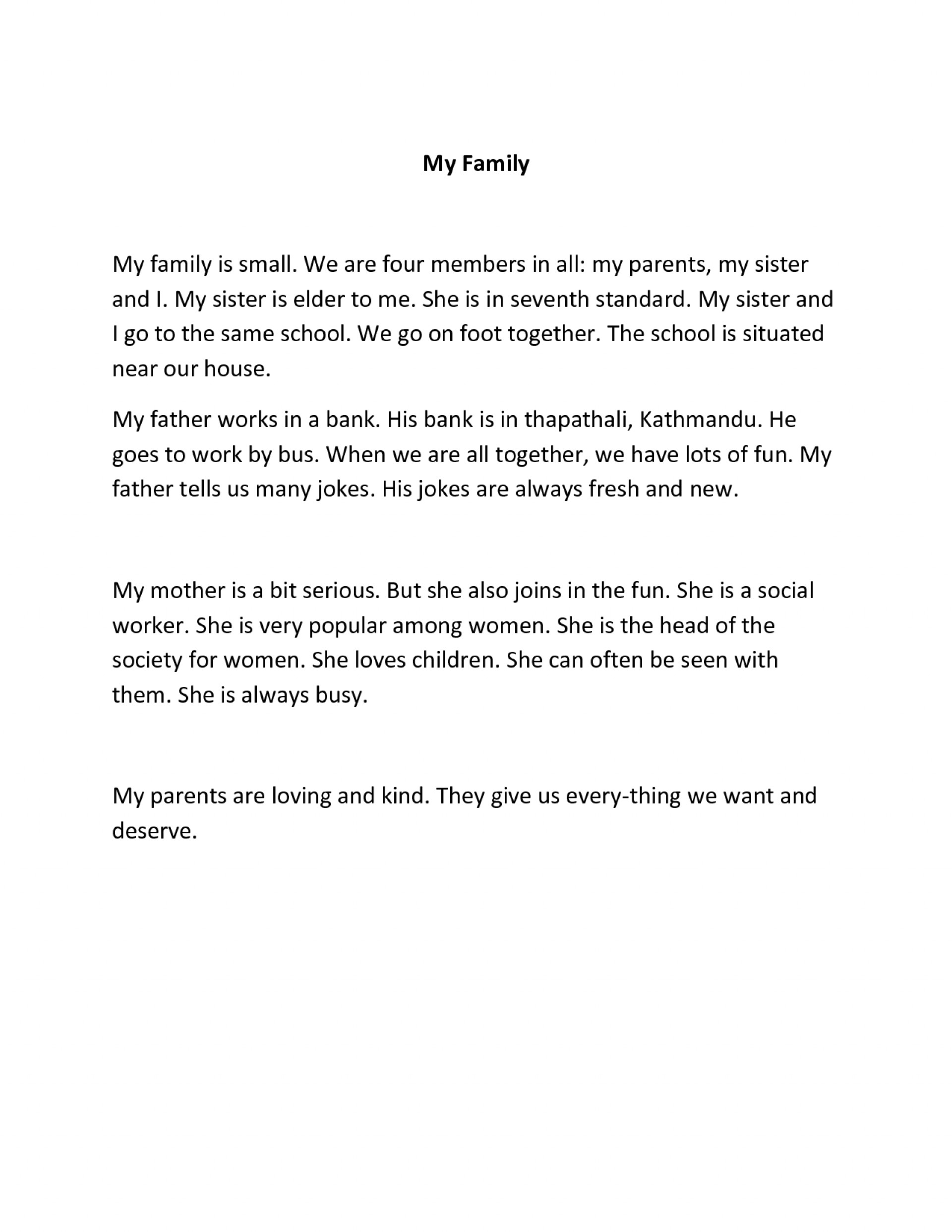 009 Essay About Family Essays Short English My Example For Kindergarten On Class In German I Love Is Always Supportive Hindi French Pet Student Shocking History Influence Values First And Foremost 1920
