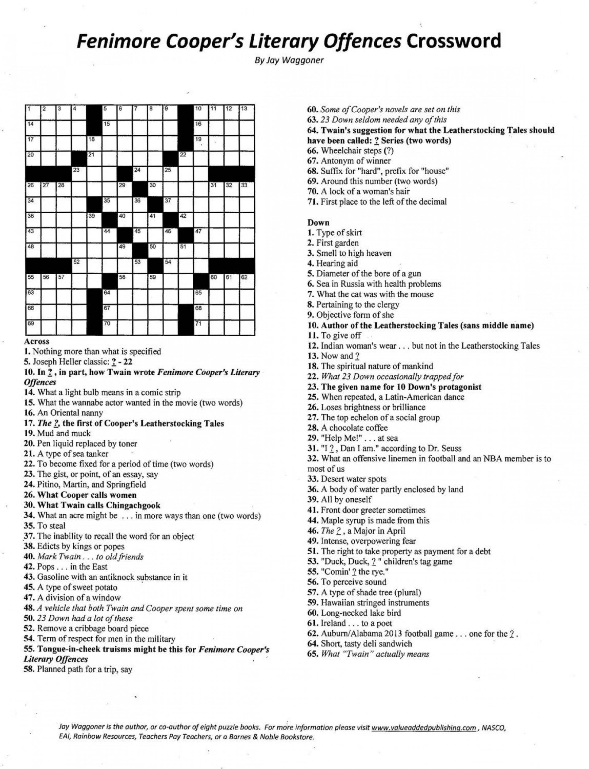009 Essay Crossword Example Fascinating Byline Clue Short Puzzle Persuasive 1920