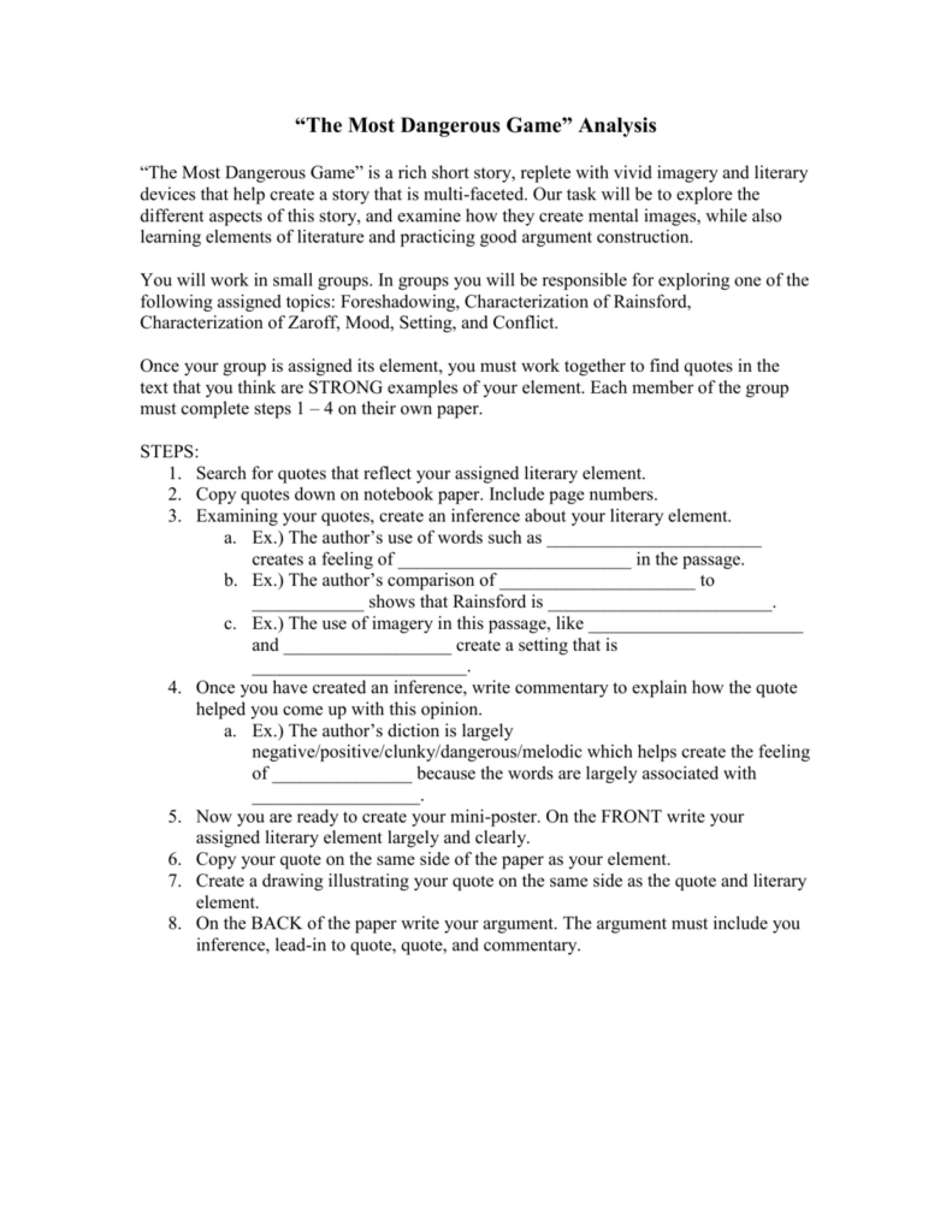 009 Essay Example 008016662 1 The Most Dangerous Impressive Game Study Questions And Answers Discussion 1920