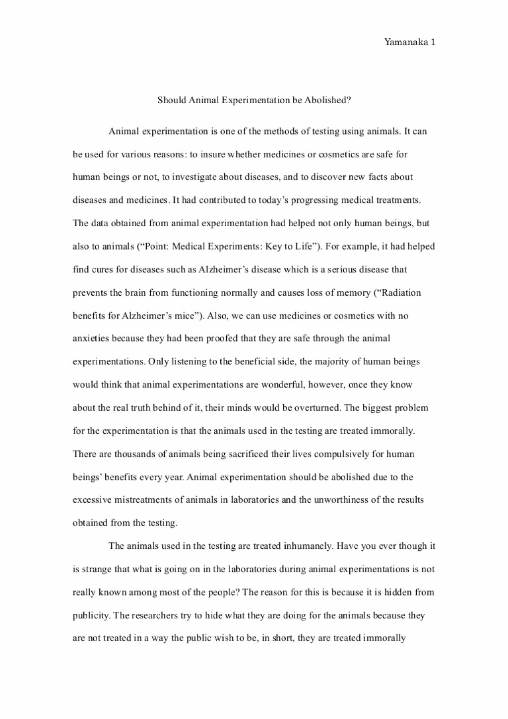 009 Essay Example Animalexperimentationessayfinal Phpapp01 Thumbnail Animal Surprising Testing Pro Good Titles For Persuasive Large