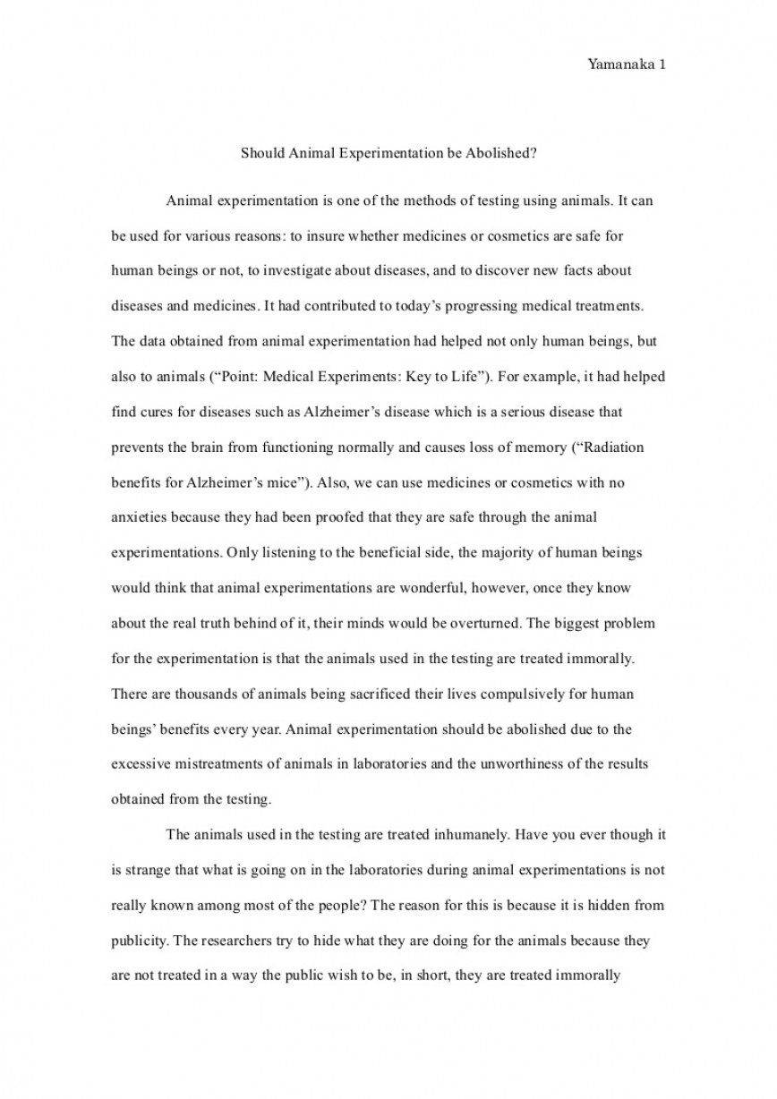 009 Essay Example Animalexperimentationessayfinal Phpapp01 Thumbnail Animal Surprising Testing Pro Problem Solution Good Titles For