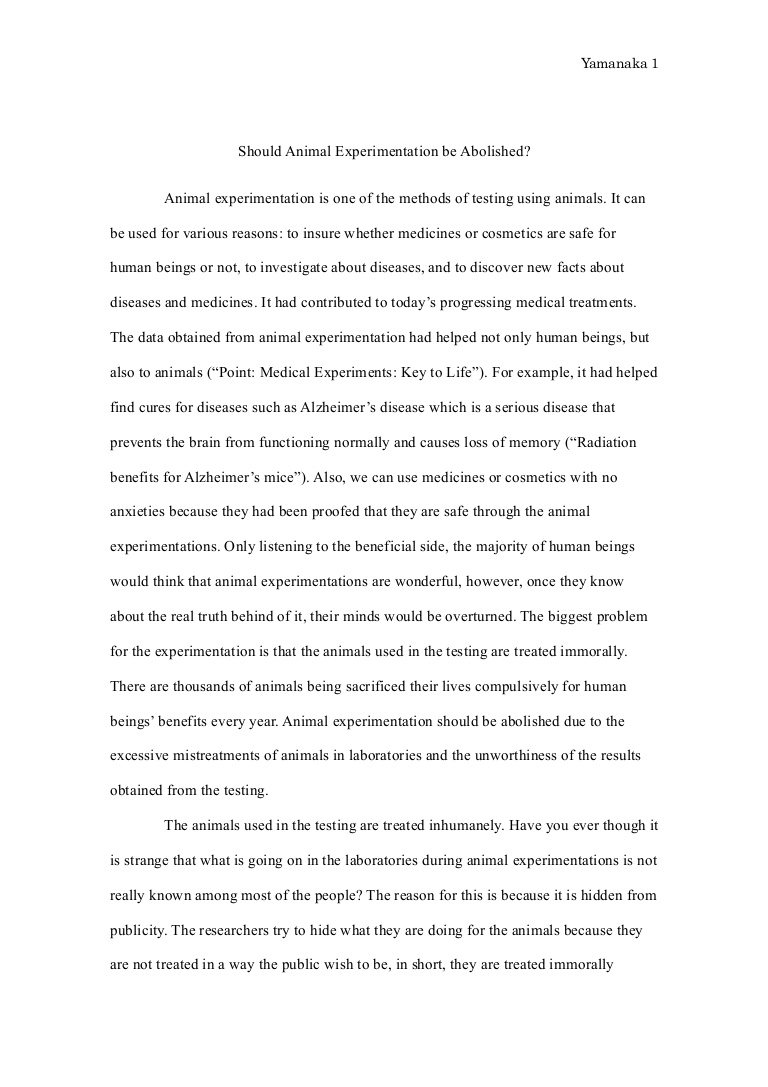 009 Essay Example Animalexperimentationessayfinal Phpapp01 Thumbnail Animal Surprising Testing Pro Good Titles For Persuasive Full