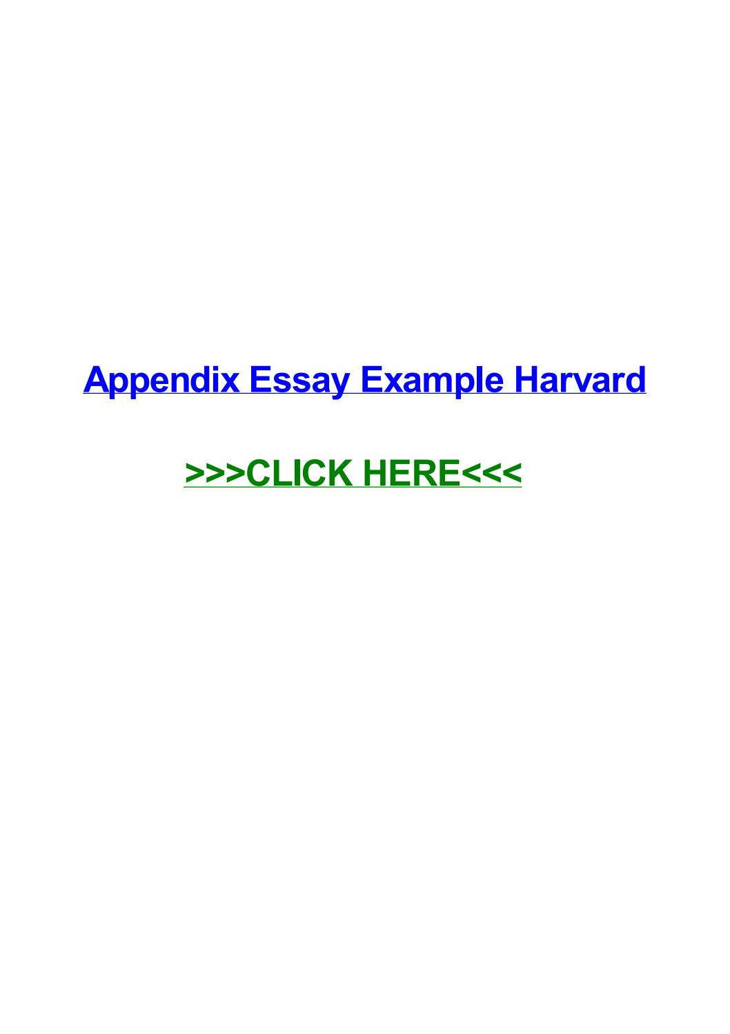 009 Essay Example Appendix Page 1 Remarkable Harvard Meaning History Full