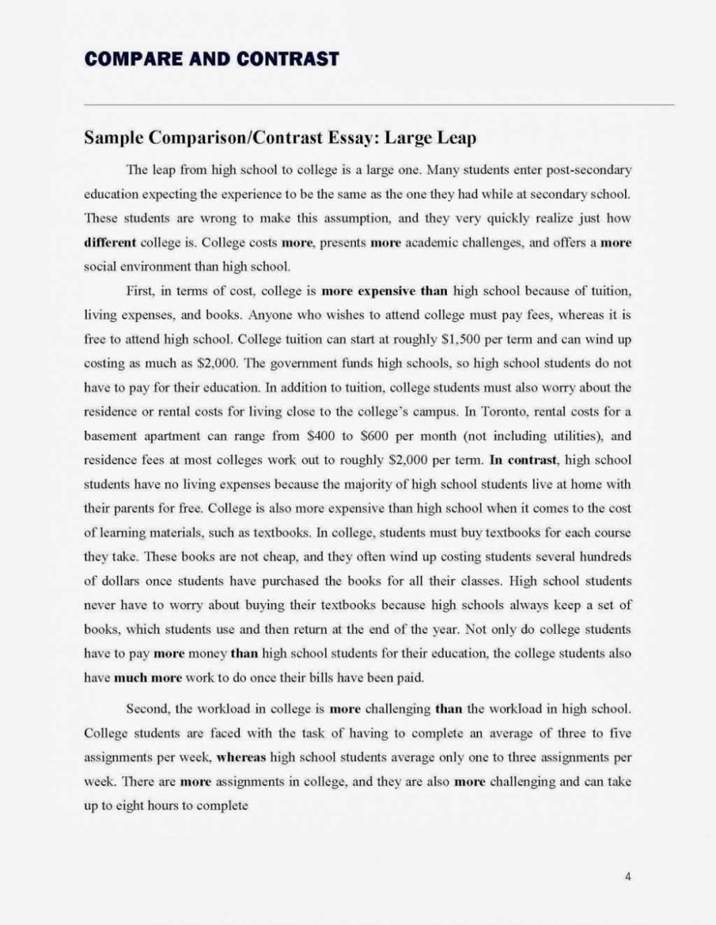 009 Essay Example Comparison And Contrast Examples College Compare That W Application Worked Striking Fourth Grade 7th 3rd Large