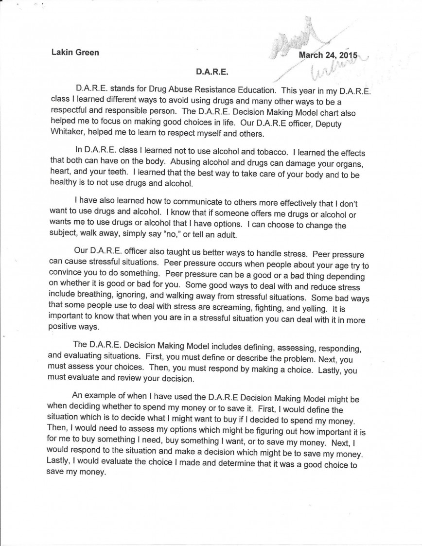 009 Essay Example Dare Examples Lakin Green Page Essays Winning For 5th Grade Winner Staggering 868
