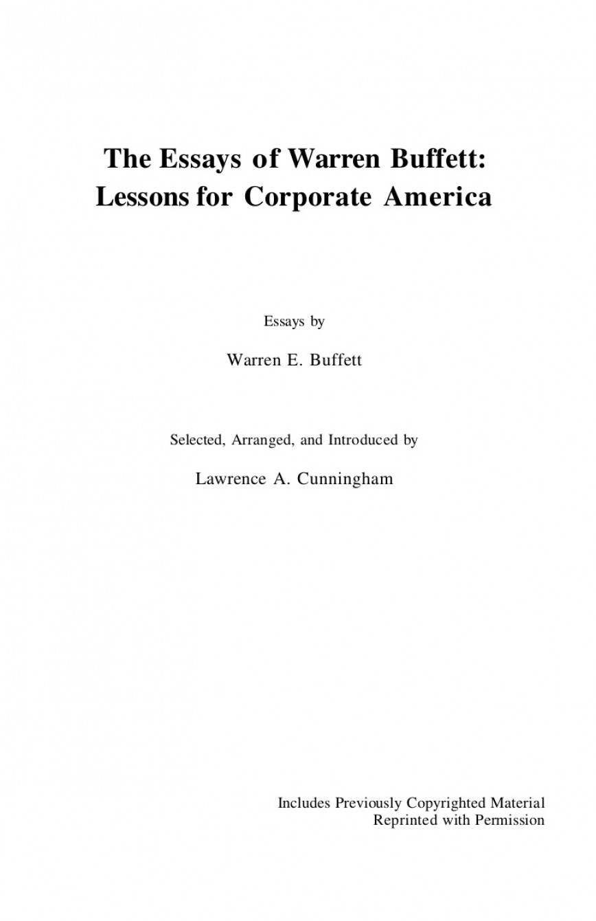 009 Essay Example Essays Of Warren Buffett The Thumbnail Top Lessons For Investors And Managers Review Corporate America Third Edition Pdf Fourth