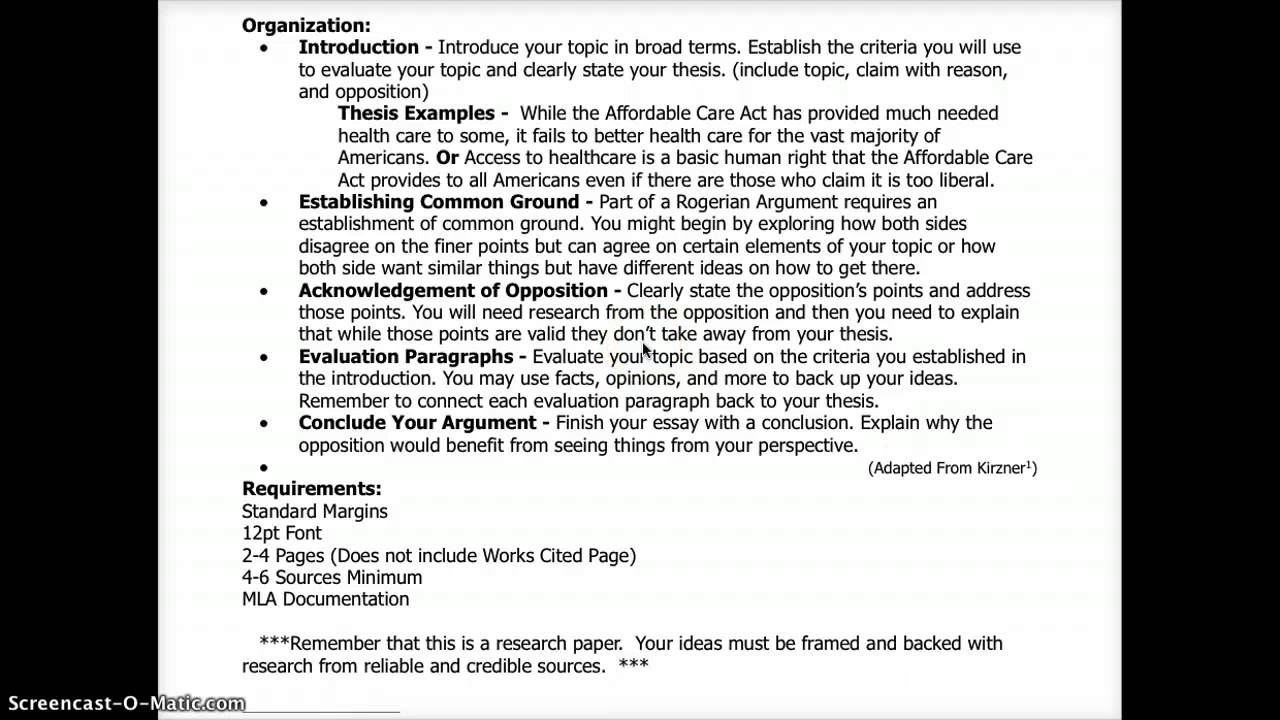 009 Essay Example Evaluation Argument Topics Rogerian Formidable Good Full